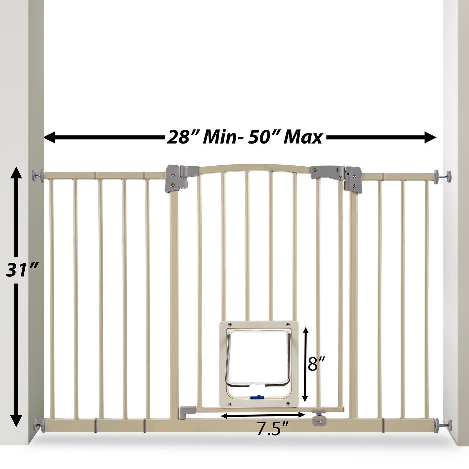 Shop Paws U0026 Pals Adjustable Indoor Metal Baby Barrier Dog Pet Gate With  Lockable Pet Doors   Free Shipping Today   Overstock.com   20564056