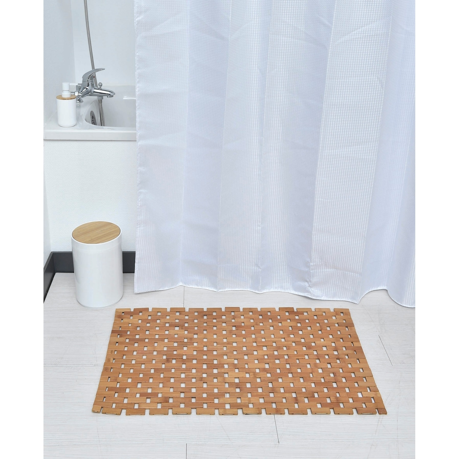 Shop Evideco Rectangular Bathroom Bamboo Slats Roll Up Foldable Shower Door Rug