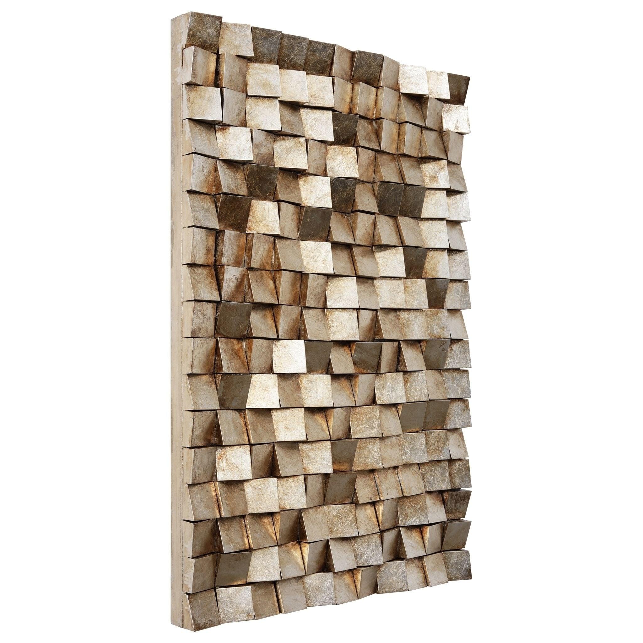 Textured 1 Metallic Handed Painted Rugged Wooden Blocks Wall Art
