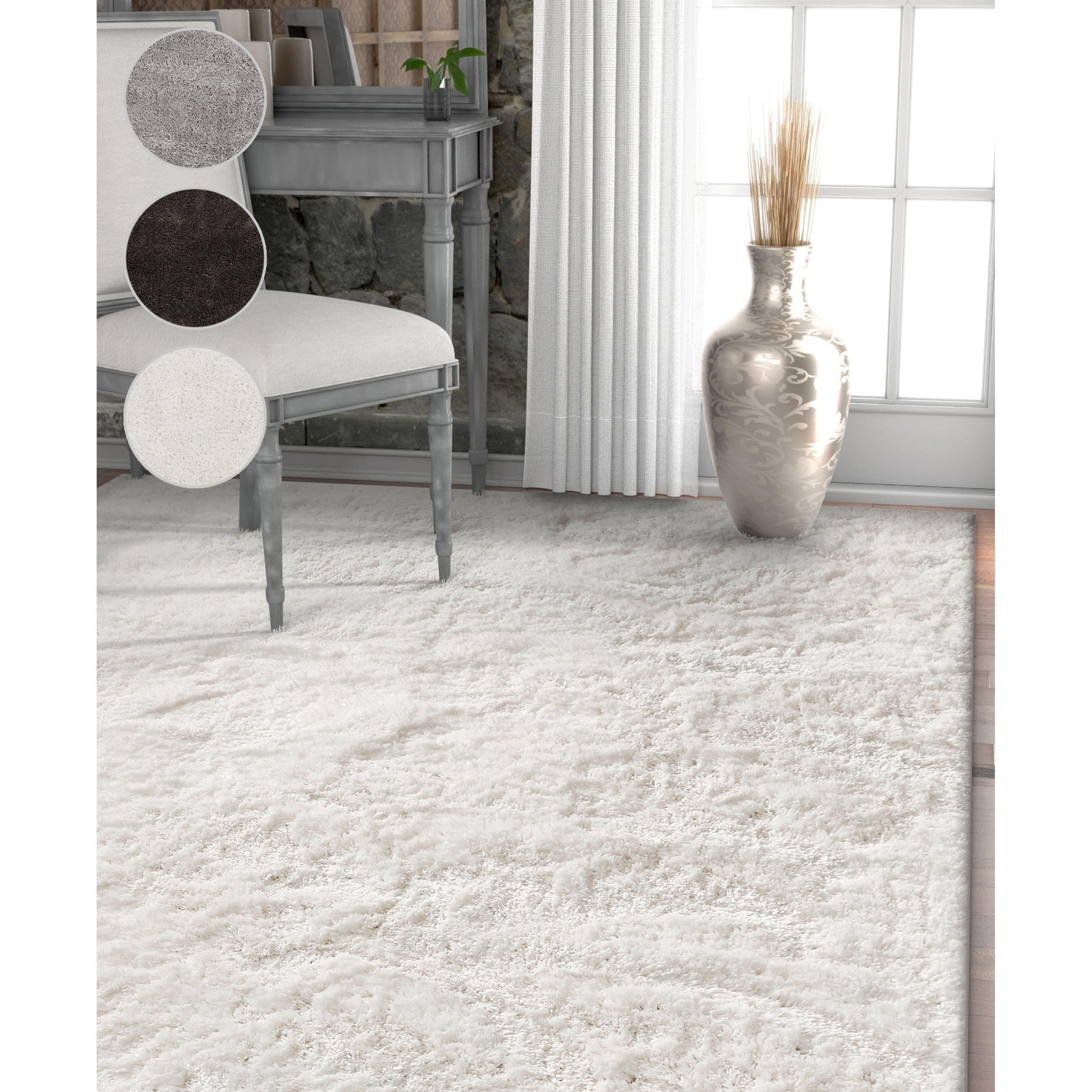 Well Woven Modern Solid Soft Greysilverwhite Microfiber Area Rug (710