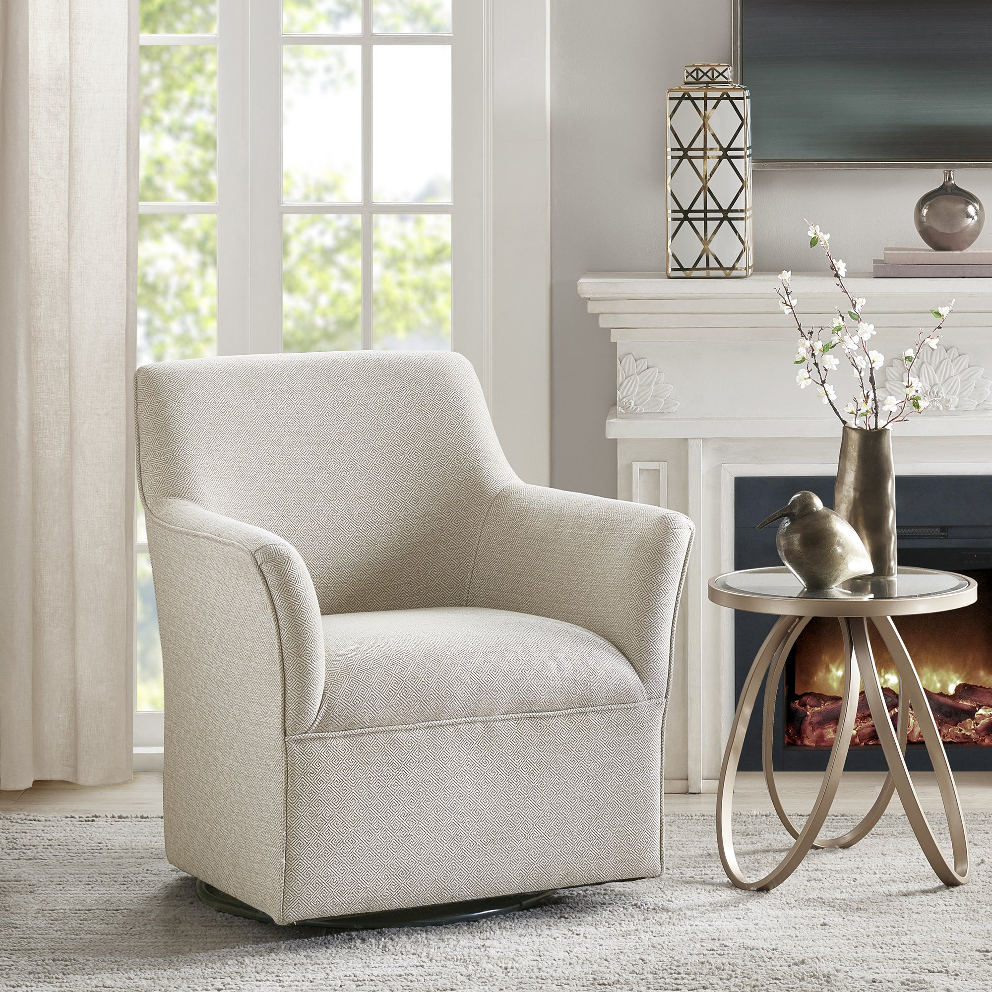 Shop Madison Park Caddy Cream Swivel Glider Chair - Free Shipping ...