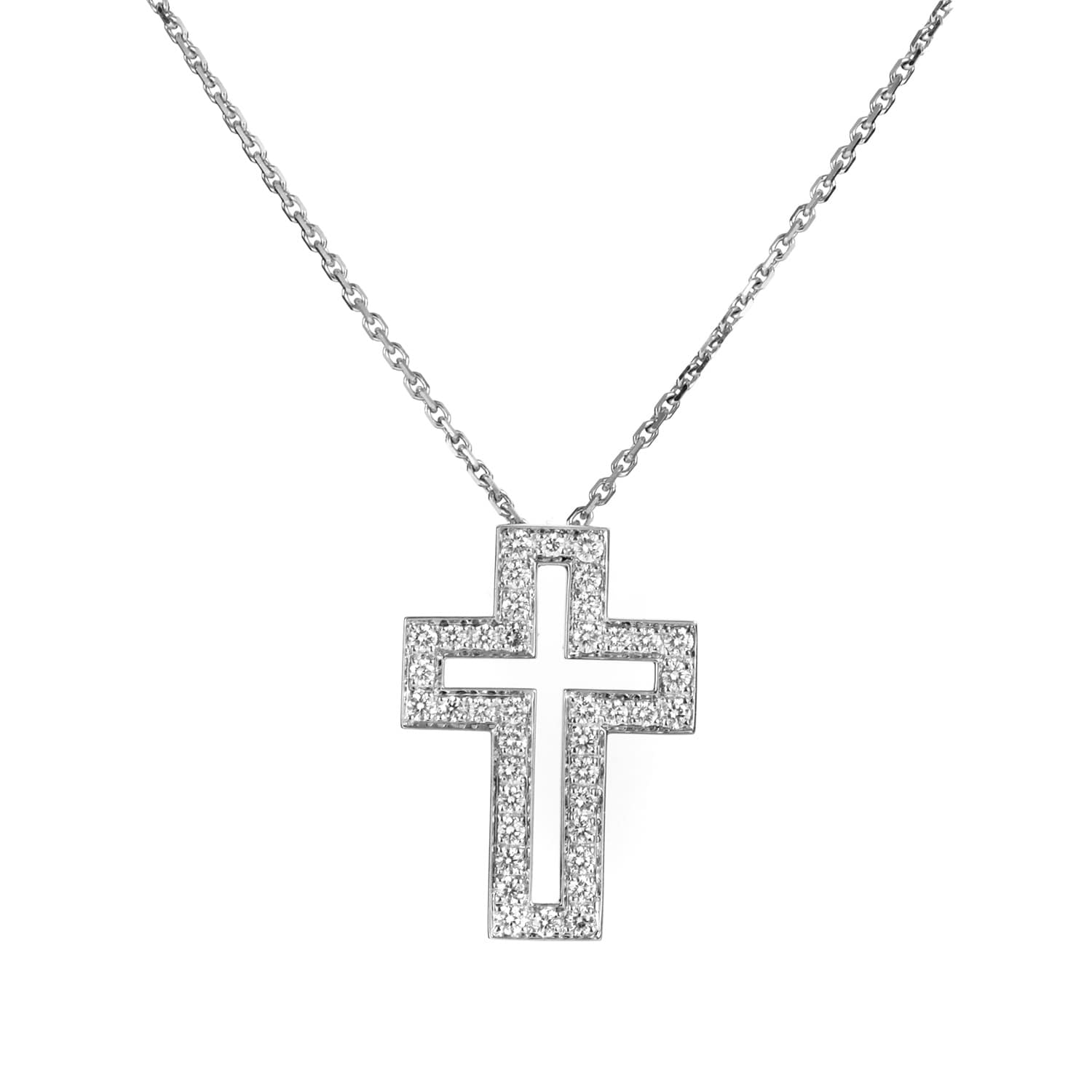Shop Boucheron White Gold Diamond Cross Pendant Necklace - On Sale ... 71067d69f3a0