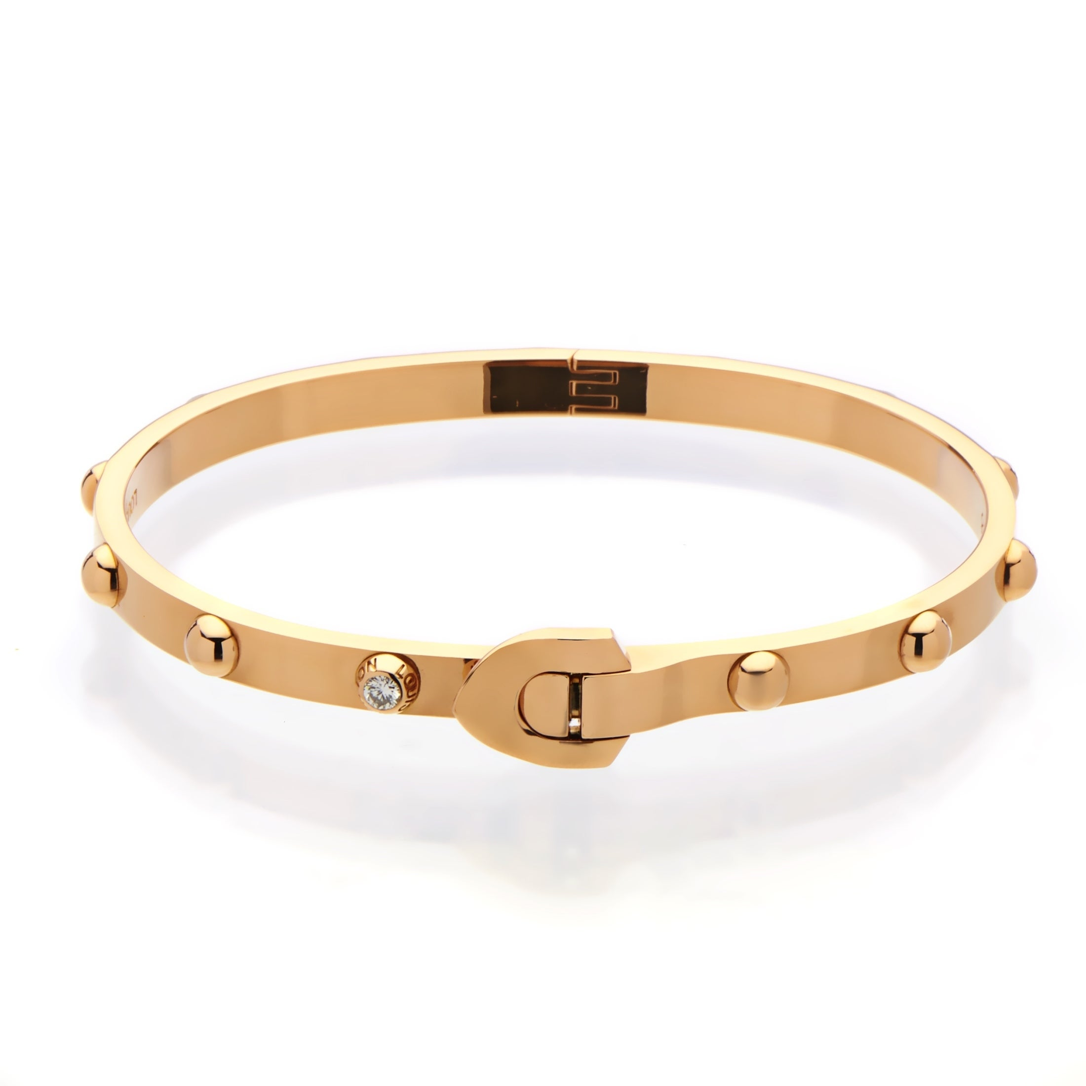 buckle bracelet rose gold bangles twisting bangle from diamond pin