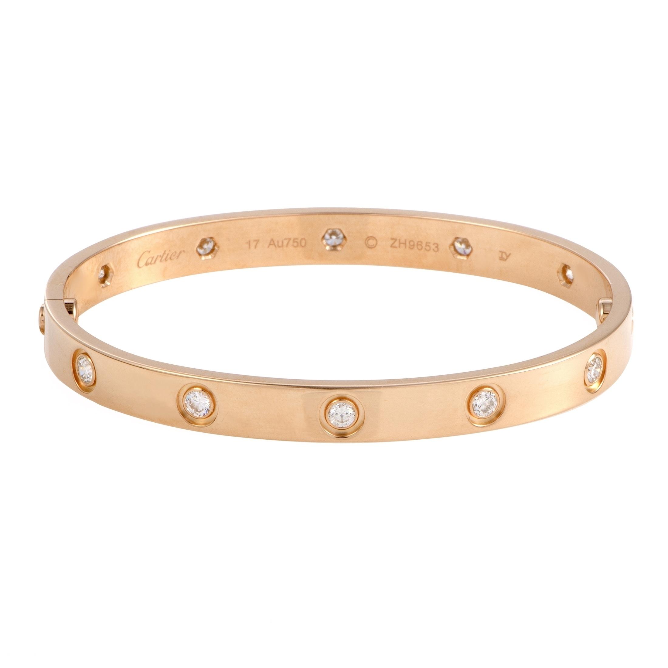 8ea6421211dbd Cartier LOVE Rose Gold 10 Diamond Bracelet Size 17