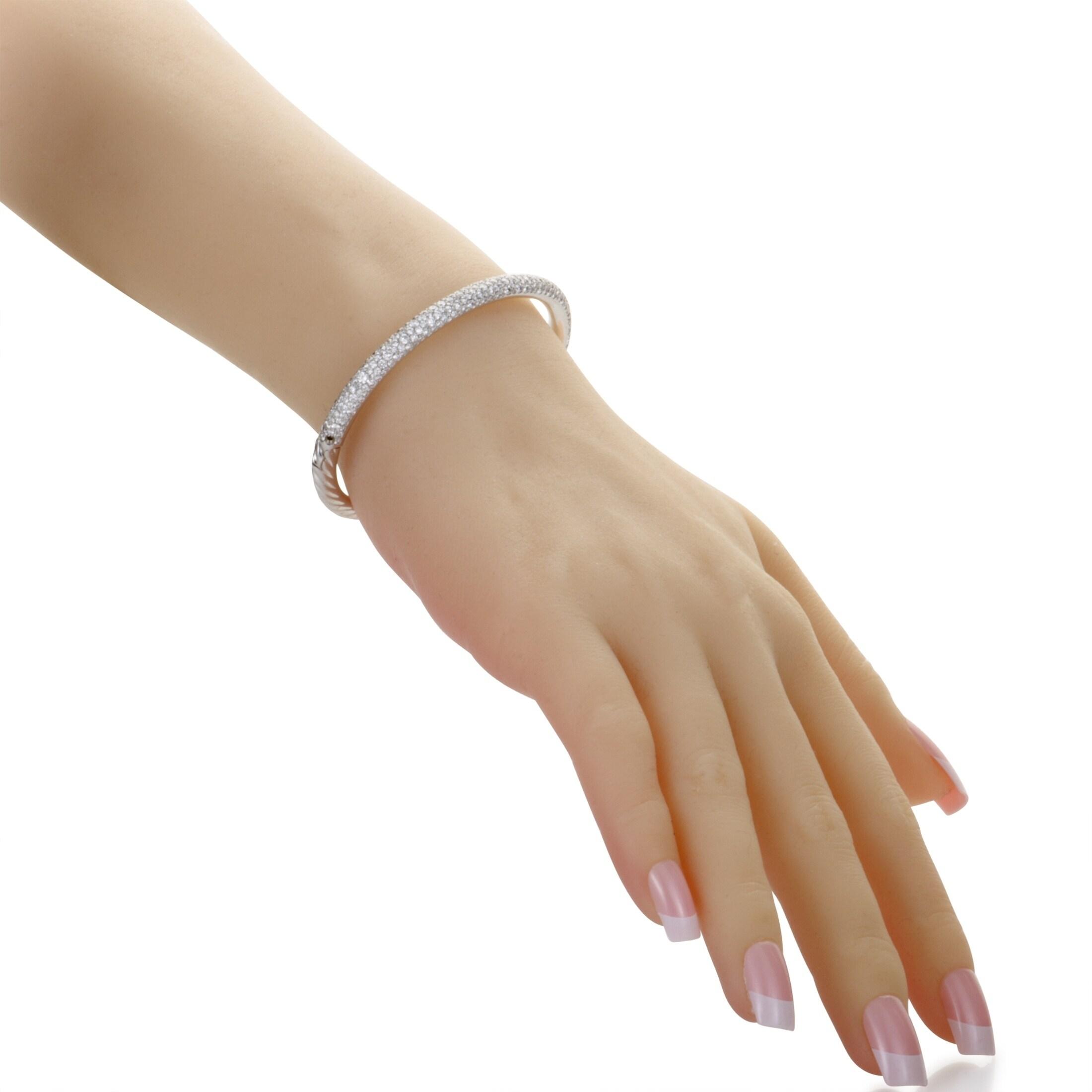David Yurman Limited Edition White Gold Diamond Pave Cable Bangle Bracelet On Free Shipping Today 20583188