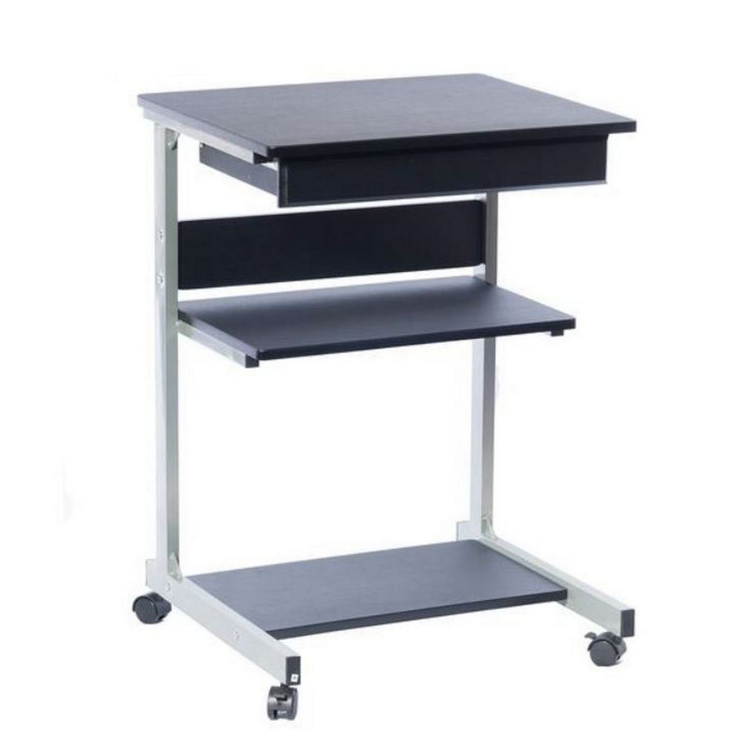 portable with rolling office tables laptop furniture raw table simple charming metal desk black puter computer