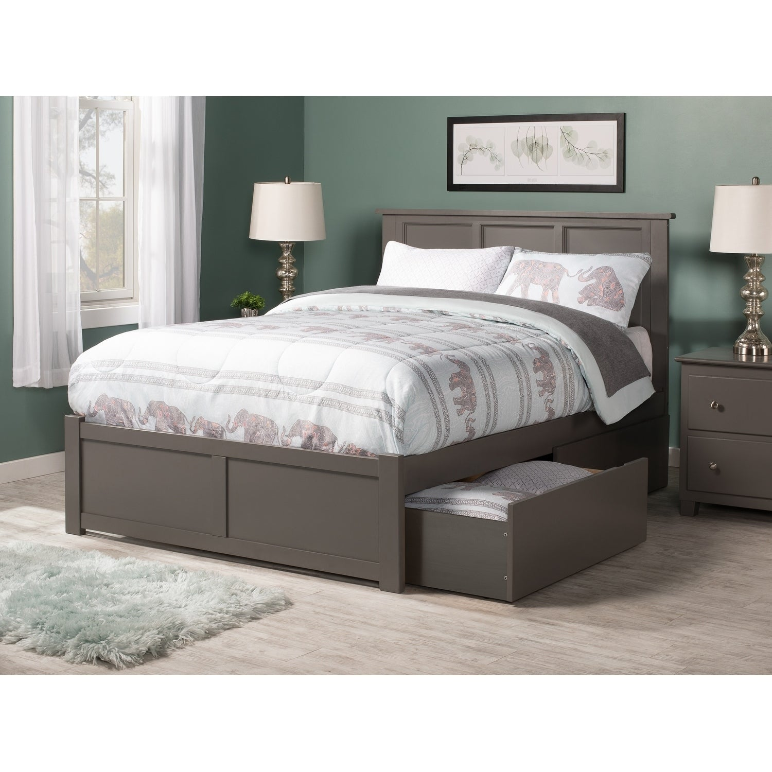 Madison Full Platform Bed With Flat Panel Foot Board And 2 Urban Drawers In Atlantic Grey By Furniture