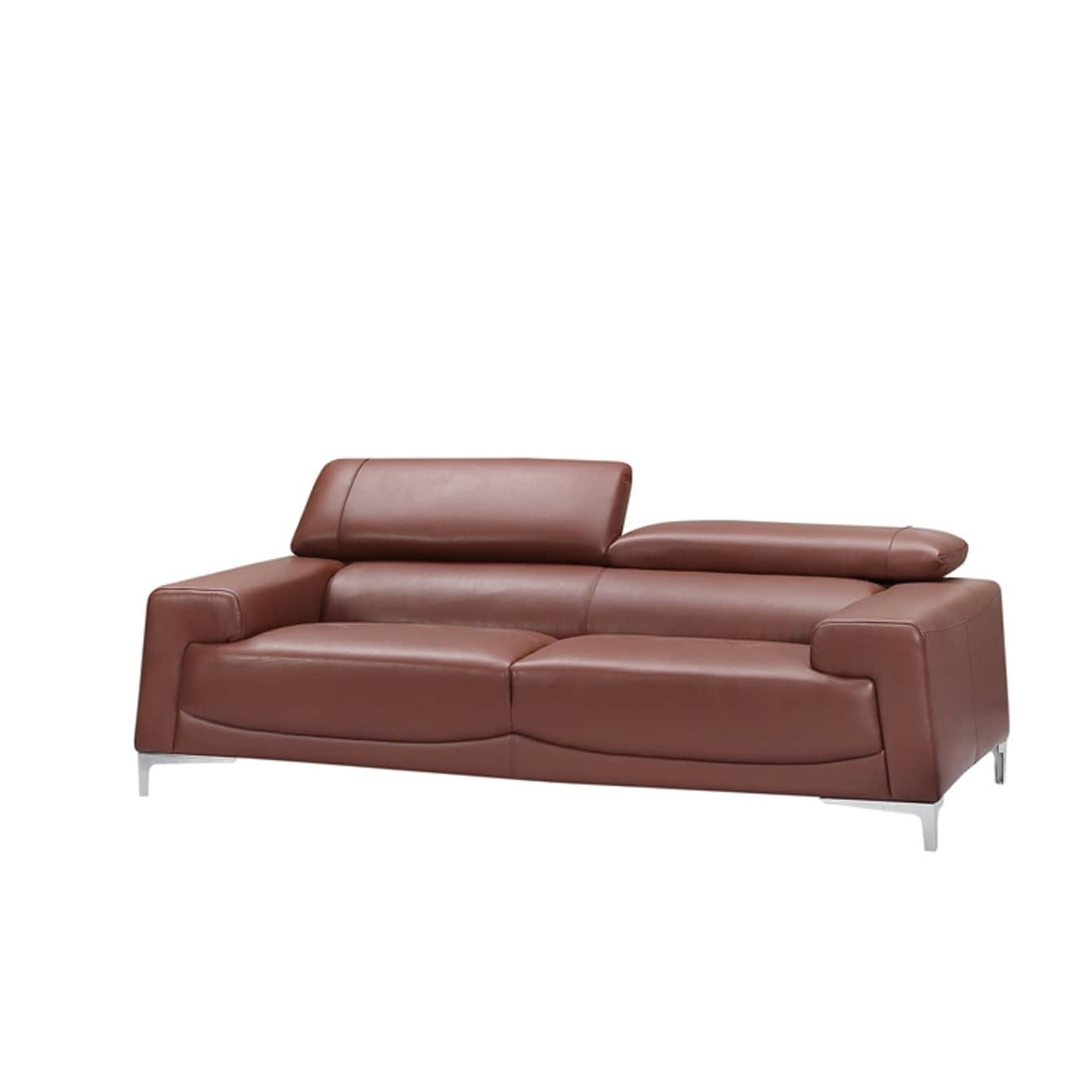 Shop Luca Home Modern Saddle Brown Sofa - Free Shipping Today ...