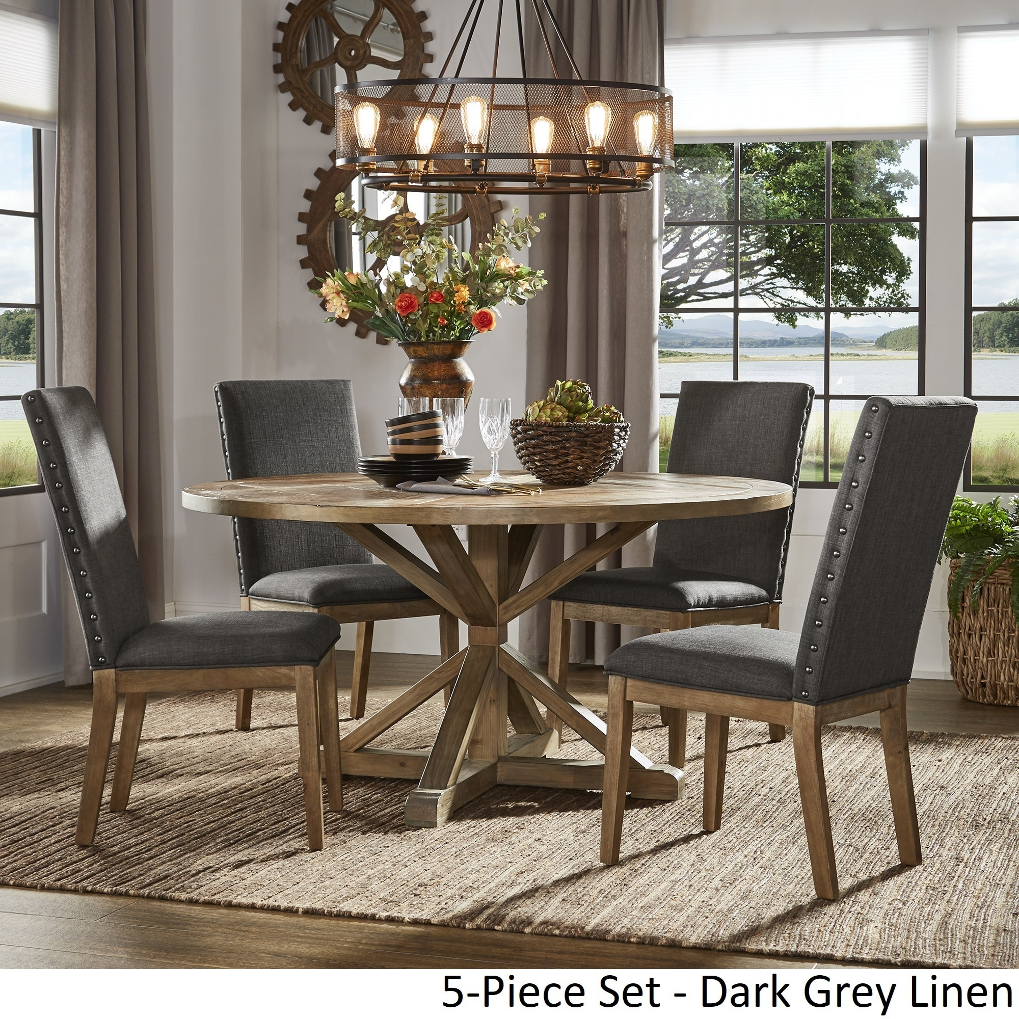 Shop Benchwright Rustic X-Base Round Pine Wood Dining Set with Nail ...