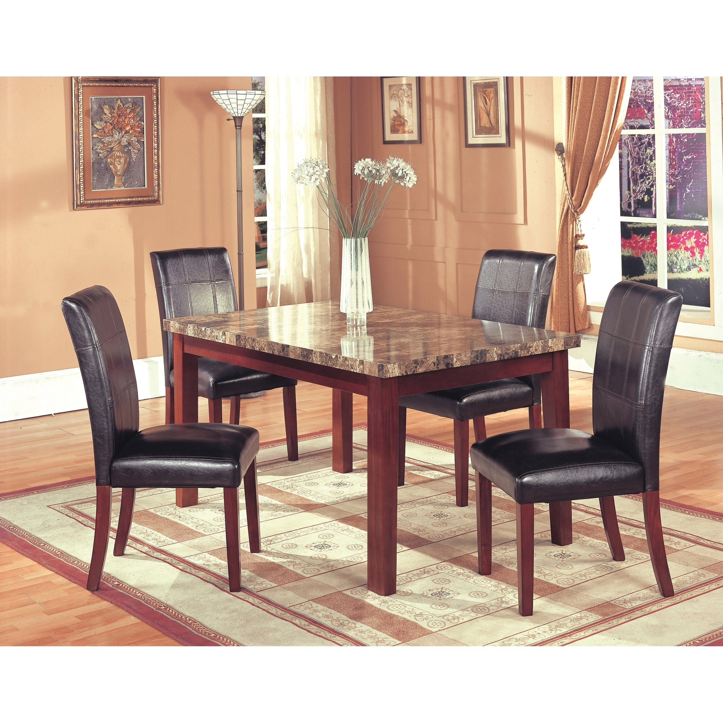 Shop home source siena brown faux marble dining room table with wooden legs table top faux paper veneer free shipping today overstock com 20586179