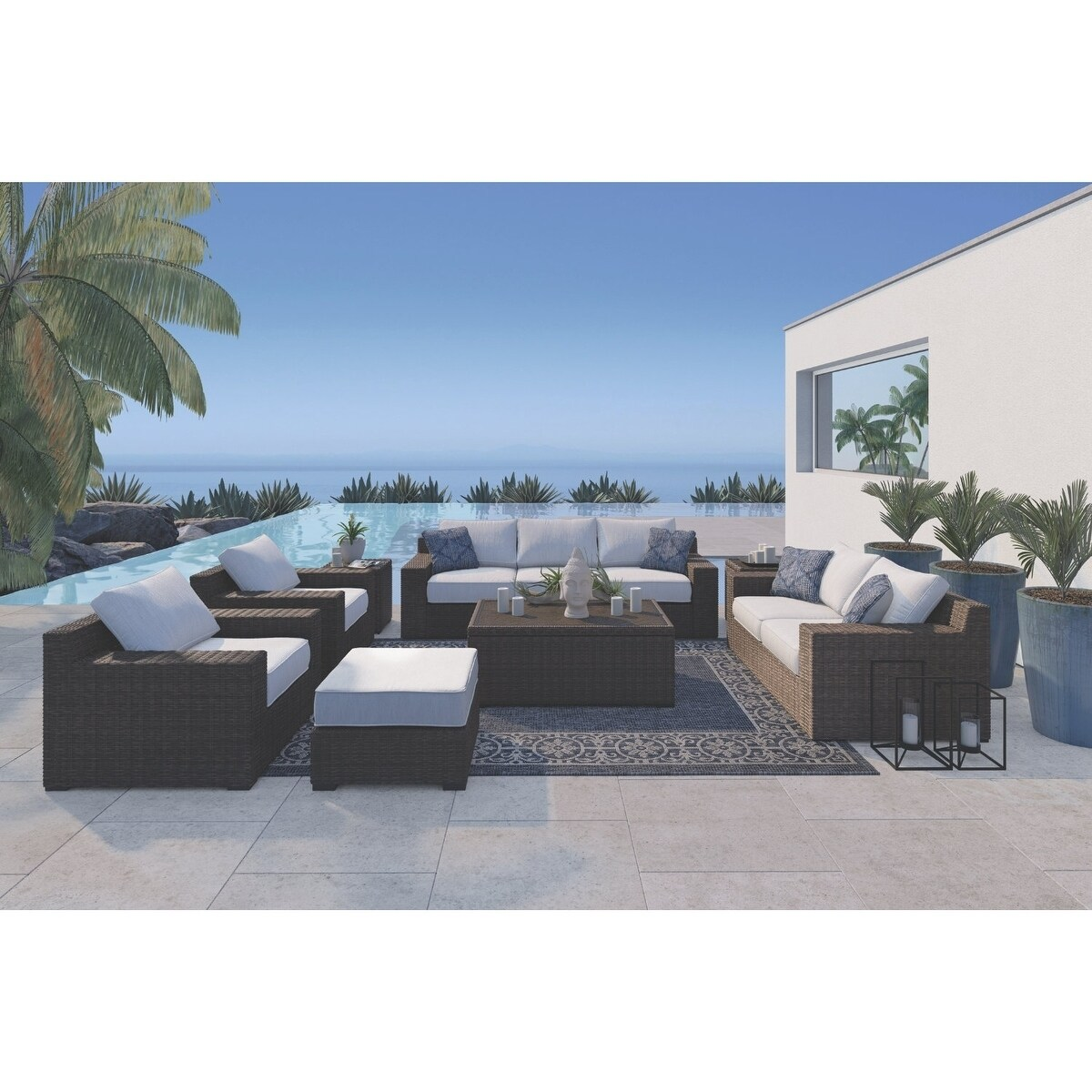 Shop Signature Design By Ashley Alta Grande Gray Outdoor Sofa   Free  Shipping Today   Overstock.com   20586211