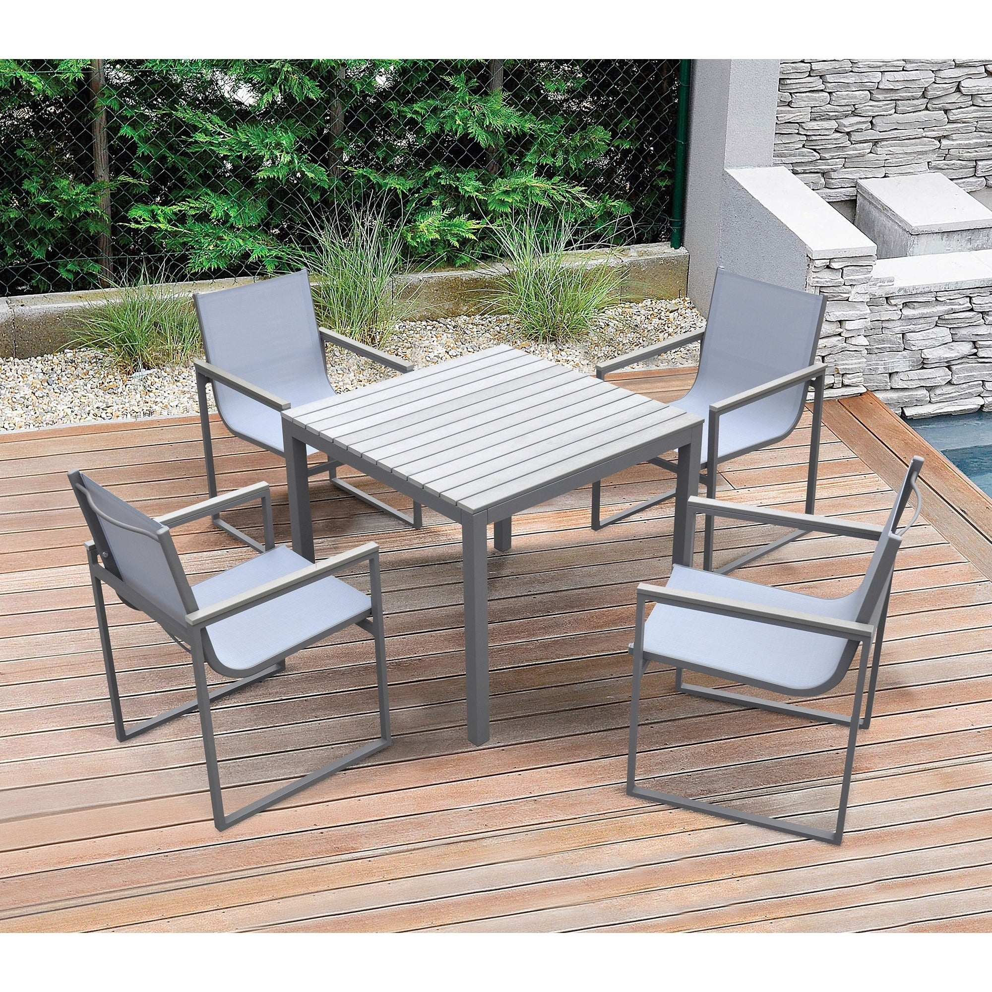 Armen living bistro dining set grey powder coated finish table with 4 chairs
