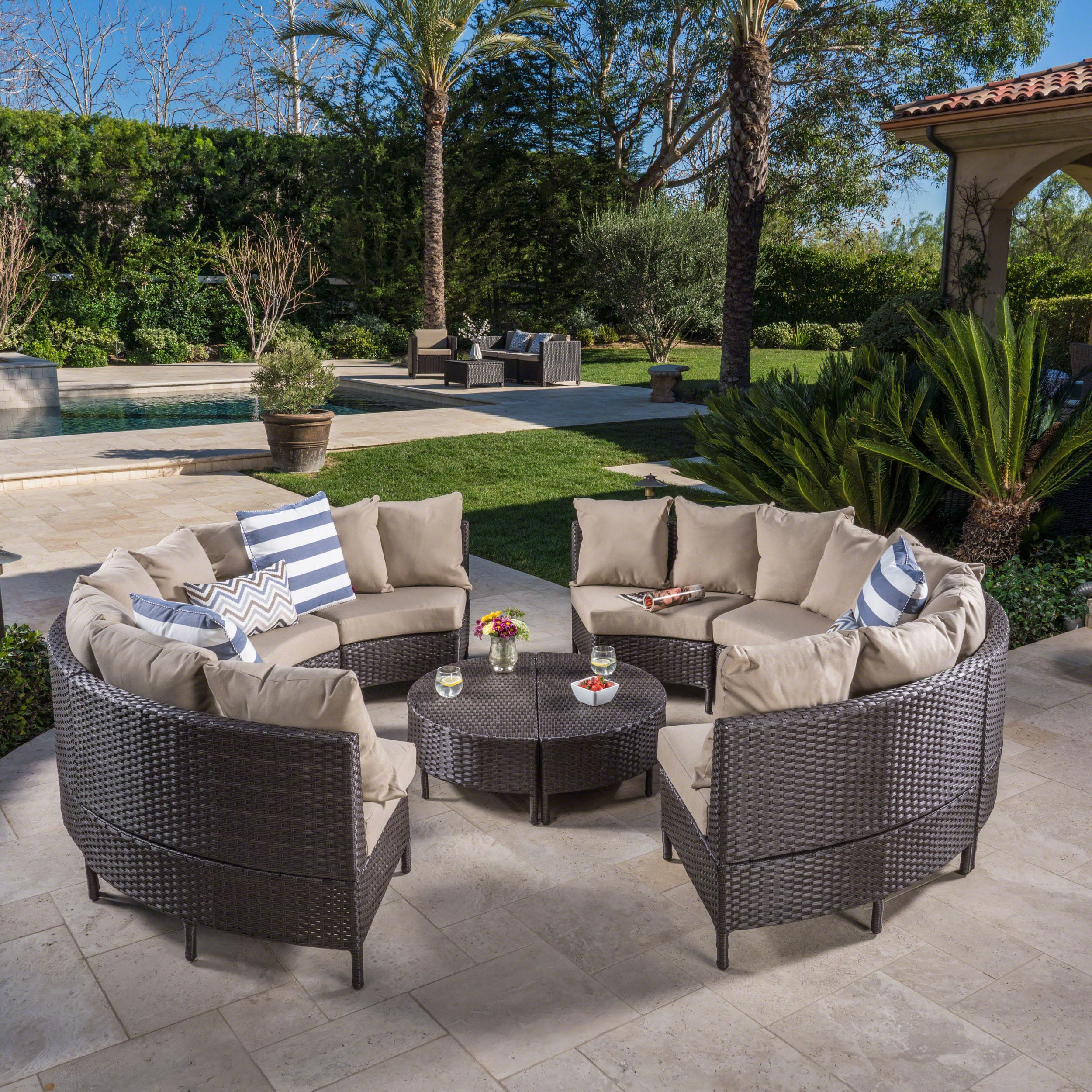 Newton Outdoor 10 Piece Wicker Lounge Set By Christopher Knight Home On Free Shipping Today 20598608