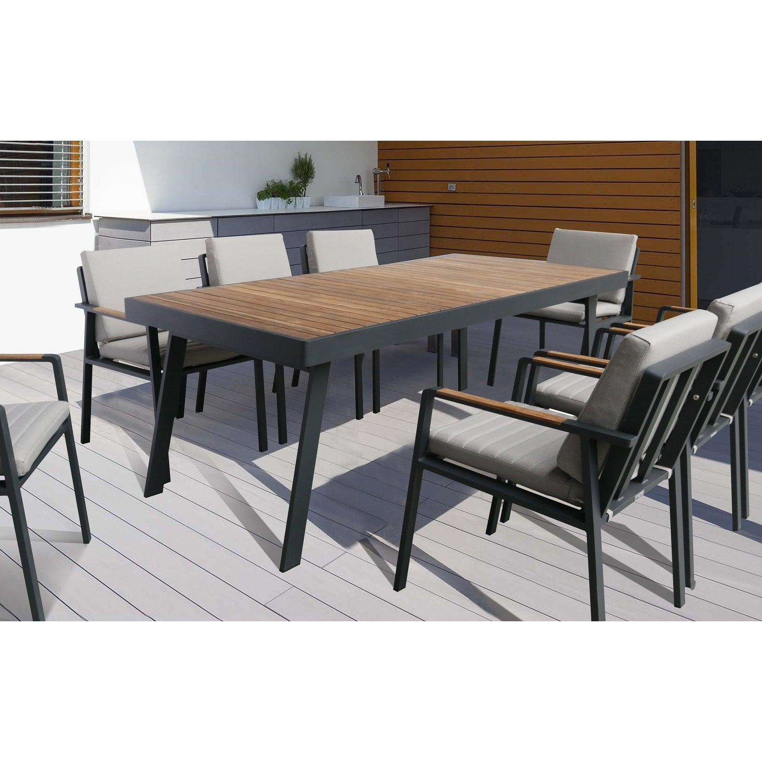 Armen living nofi outdoor patio dining table in charcoal finish with teak wood top
