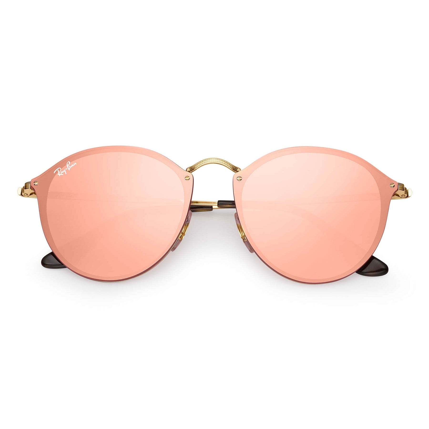 Shop Ray-Ban RB3574N Blaze Round Sunglasses Gold  Pink Mirror 59mm - Free  Shipping Today - Overstock.com - 20602396 c0810795e7