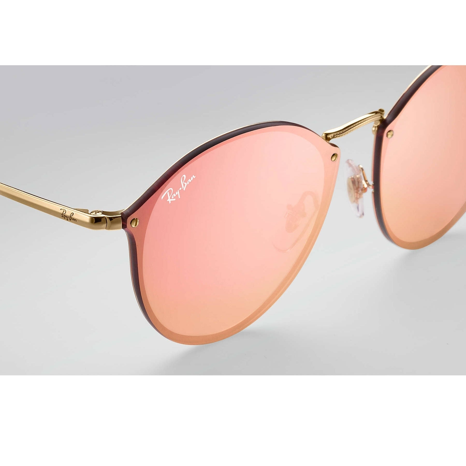 c7611d4a74d Shop Ray-Ban RB3574N Blaze Round Sunglasses Gold  Pink Mirror 59mm - Free  Shipping Today - Overstock - 20602396