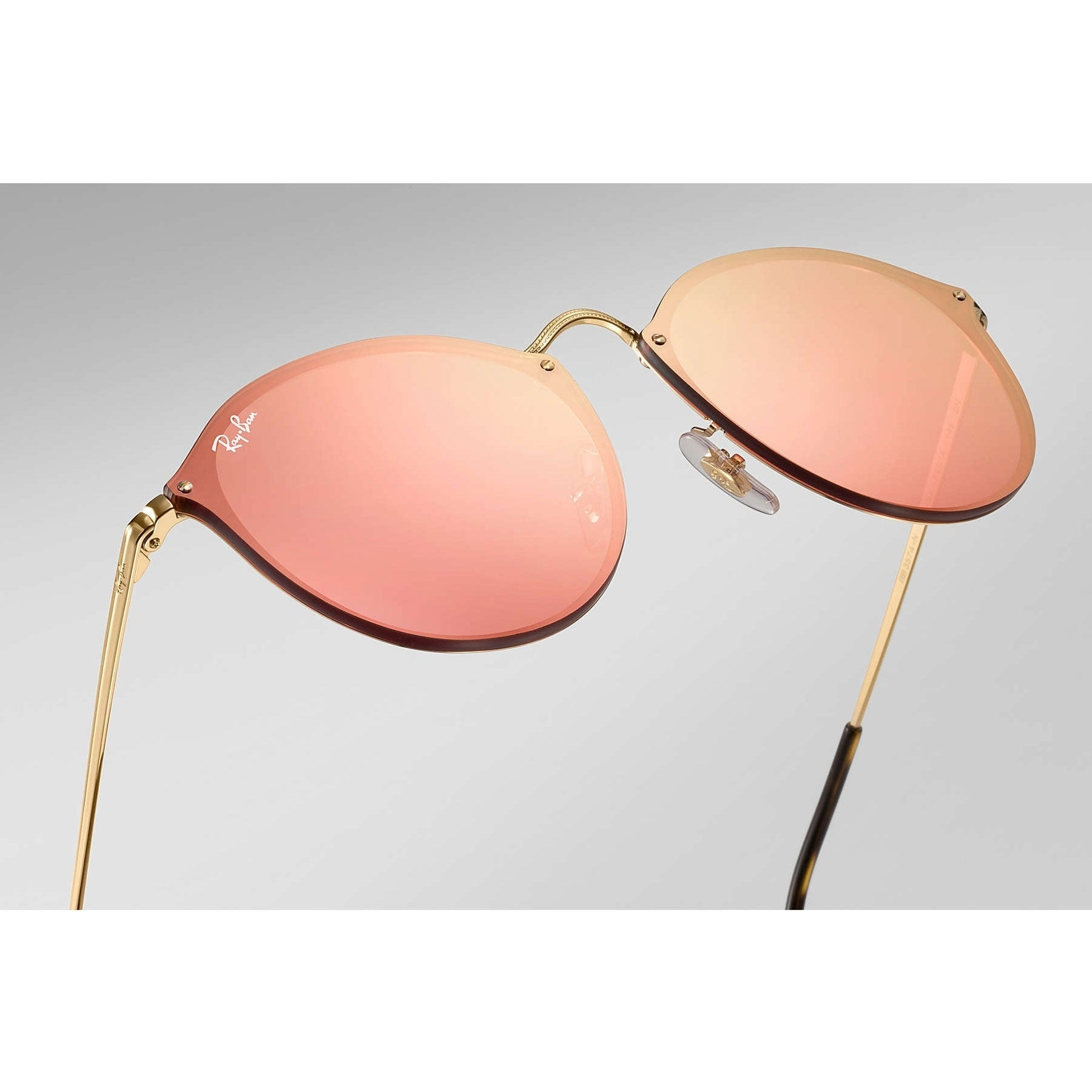 e463247dea Shop Ray-Ban RB3574N Blaze Round Sunglasses Gold  Pink Mirror 59mm - Free  Shipping Today - Overstock - 20602396