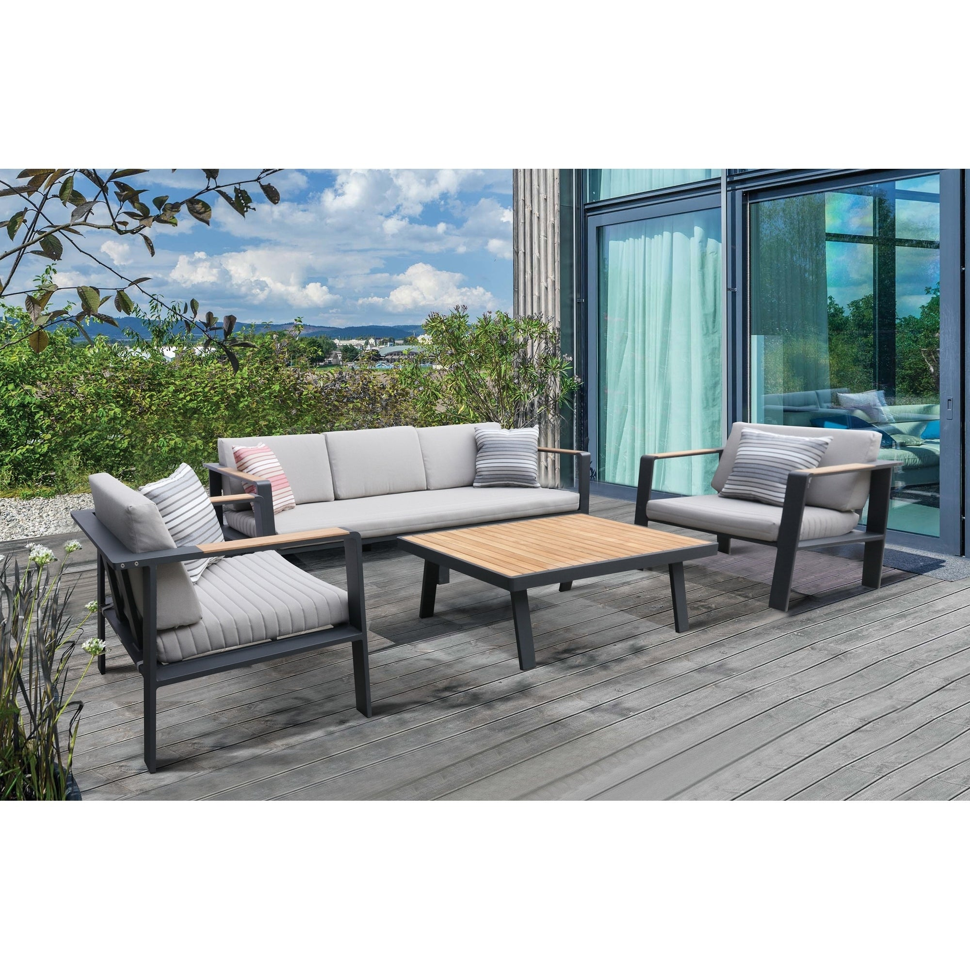 Armen living nofi 4 piece outdoor patio set in gray finish with taupe cushions and teak wood