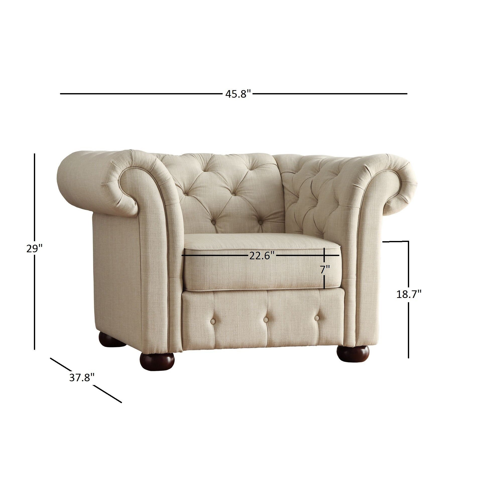 Knightsbridge Beige Linen Tufted Scroll Arm Chesterfield Chair By Inspire