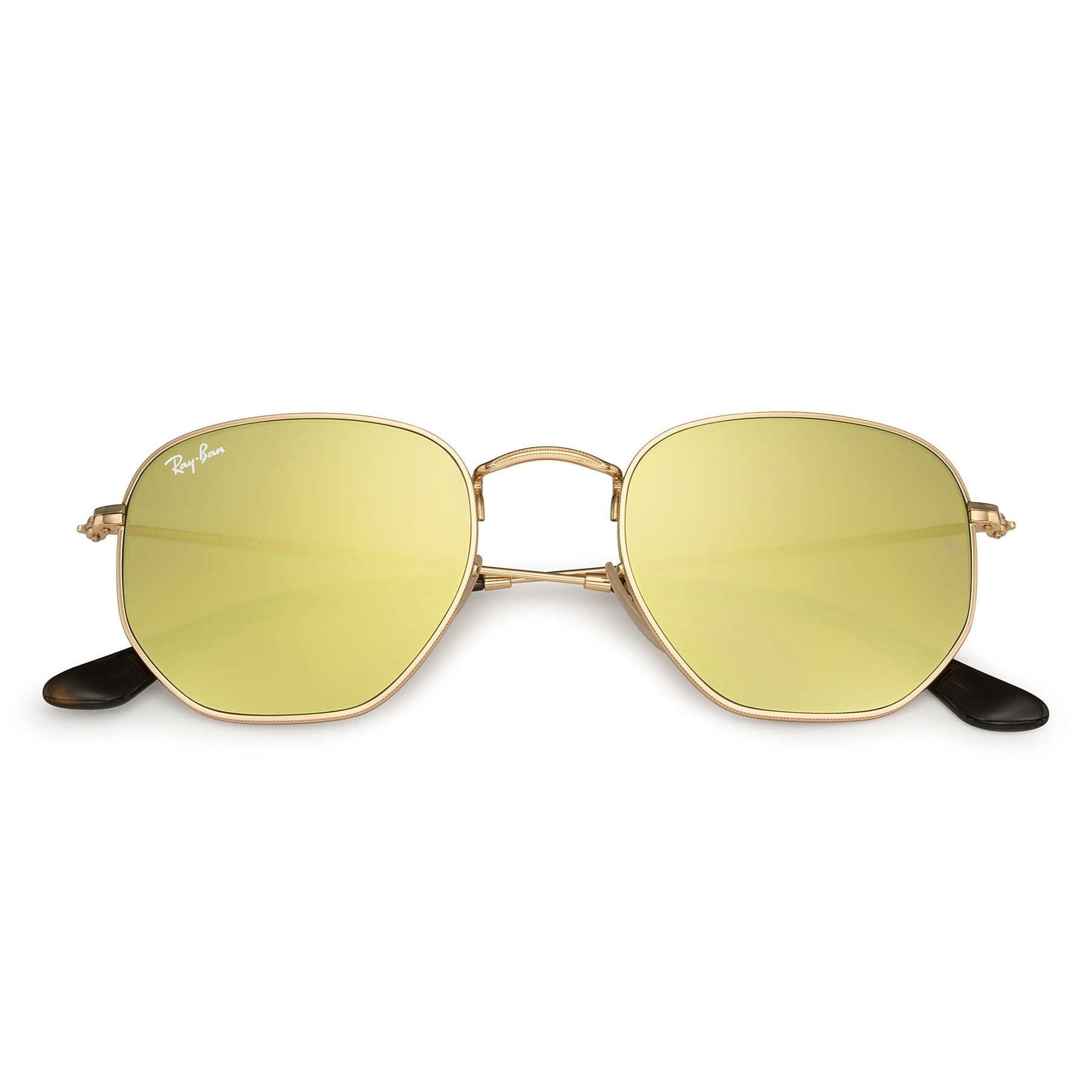 74661ea569 Shop Ray-Ban RB3548N Hexagonal Flat Lenses Sunglasses Gold  Yellow Flash  51mm - Gold - Free Shipping Today - Overstock - 20603406