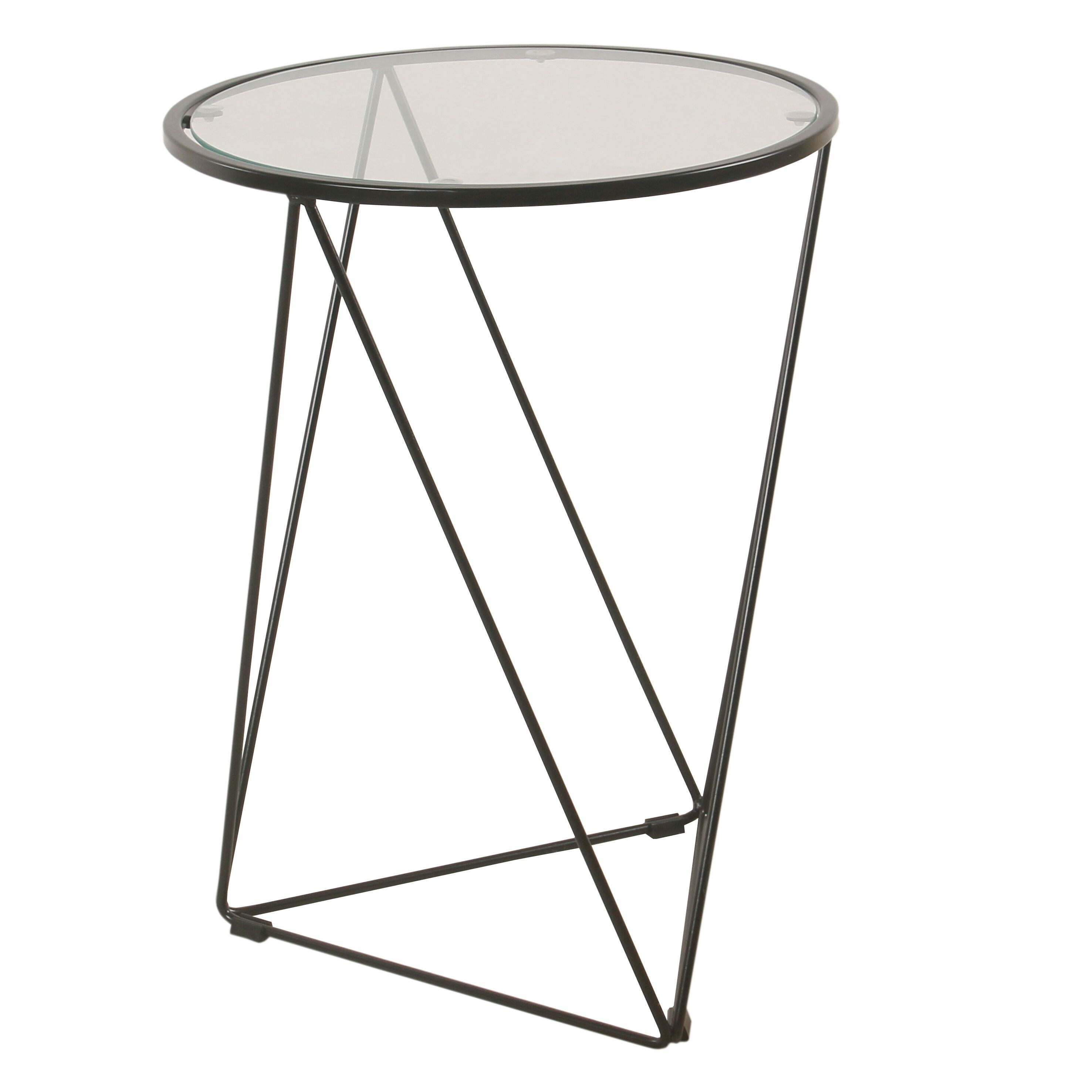 Homepop Metal Accent Table Triangle Gold Base Round Gl Top On Free Shipping Today 20603769