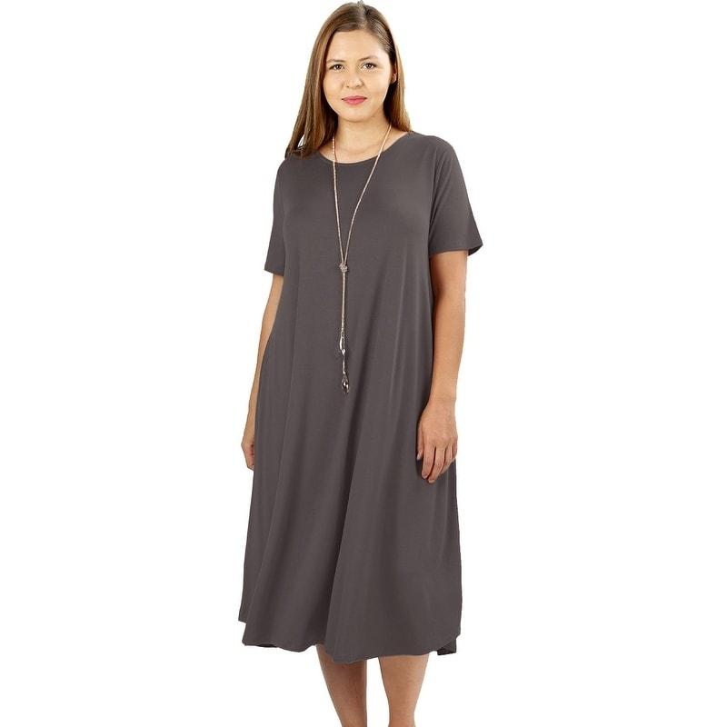 Shop Jed Womens Plus Size Soft Fabric Knee Length T Shirt Dress