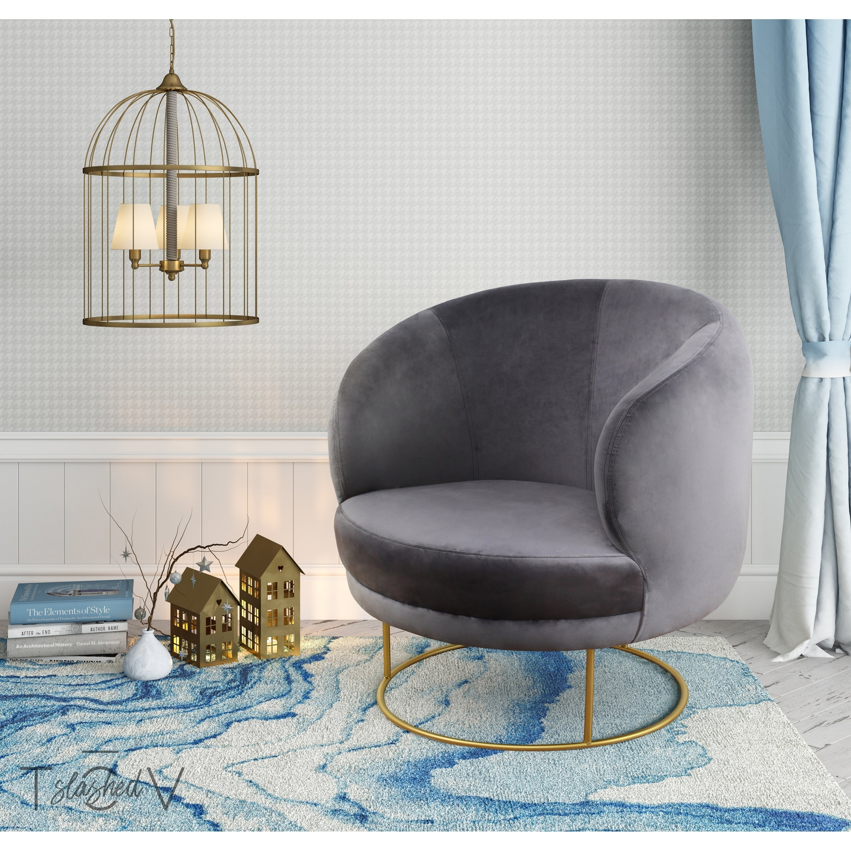 Shop Bella Grey Velvet Chair   Free Shipping Today   Overstock.com    20608604