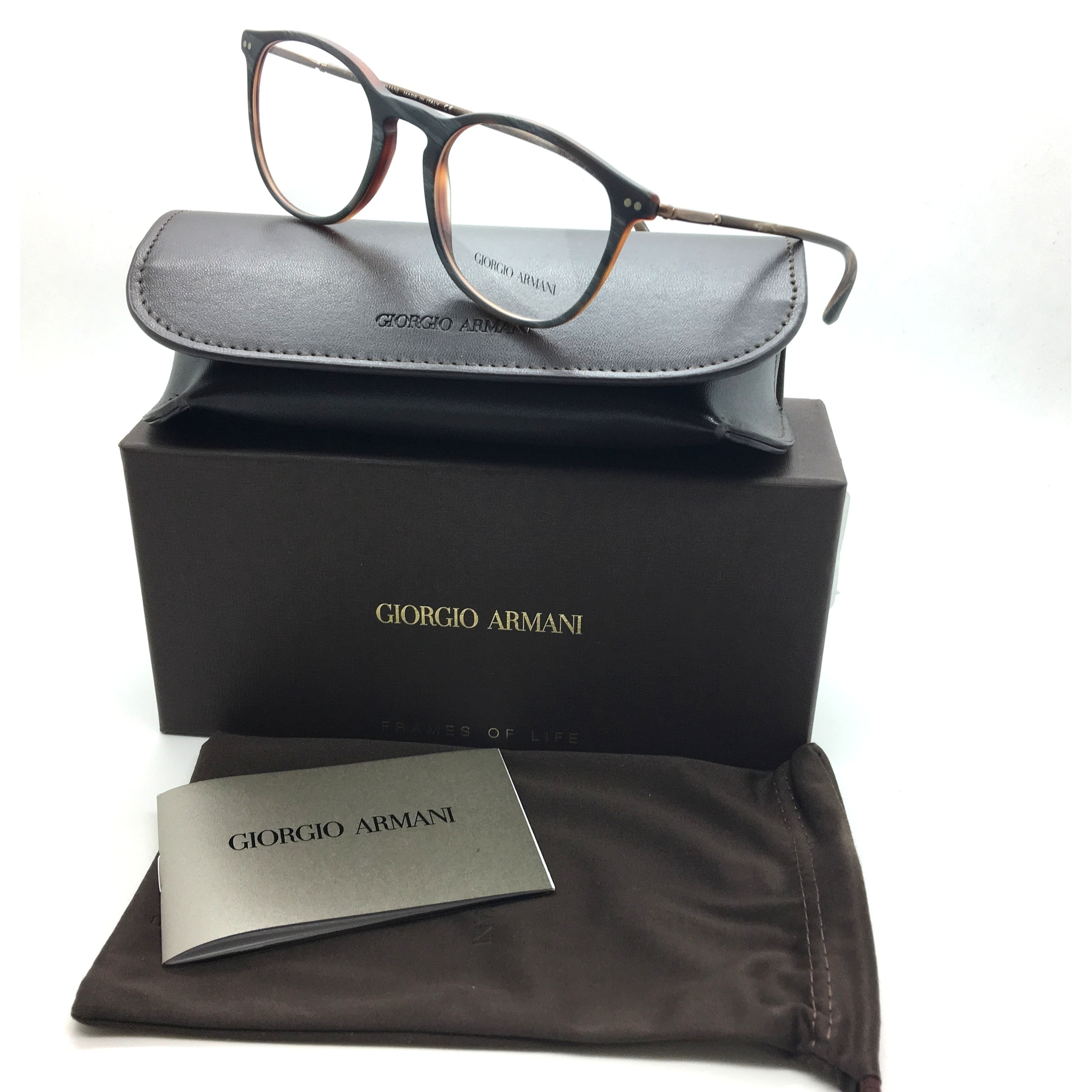2175c18c3bf3 Shop Giorgio Armani New Authentic Brown Male Eyeglasses AR 7125 5569 50 20  145 (As Is Item) - Free Shipping On Orders Over $45 - Overstock - 20609799