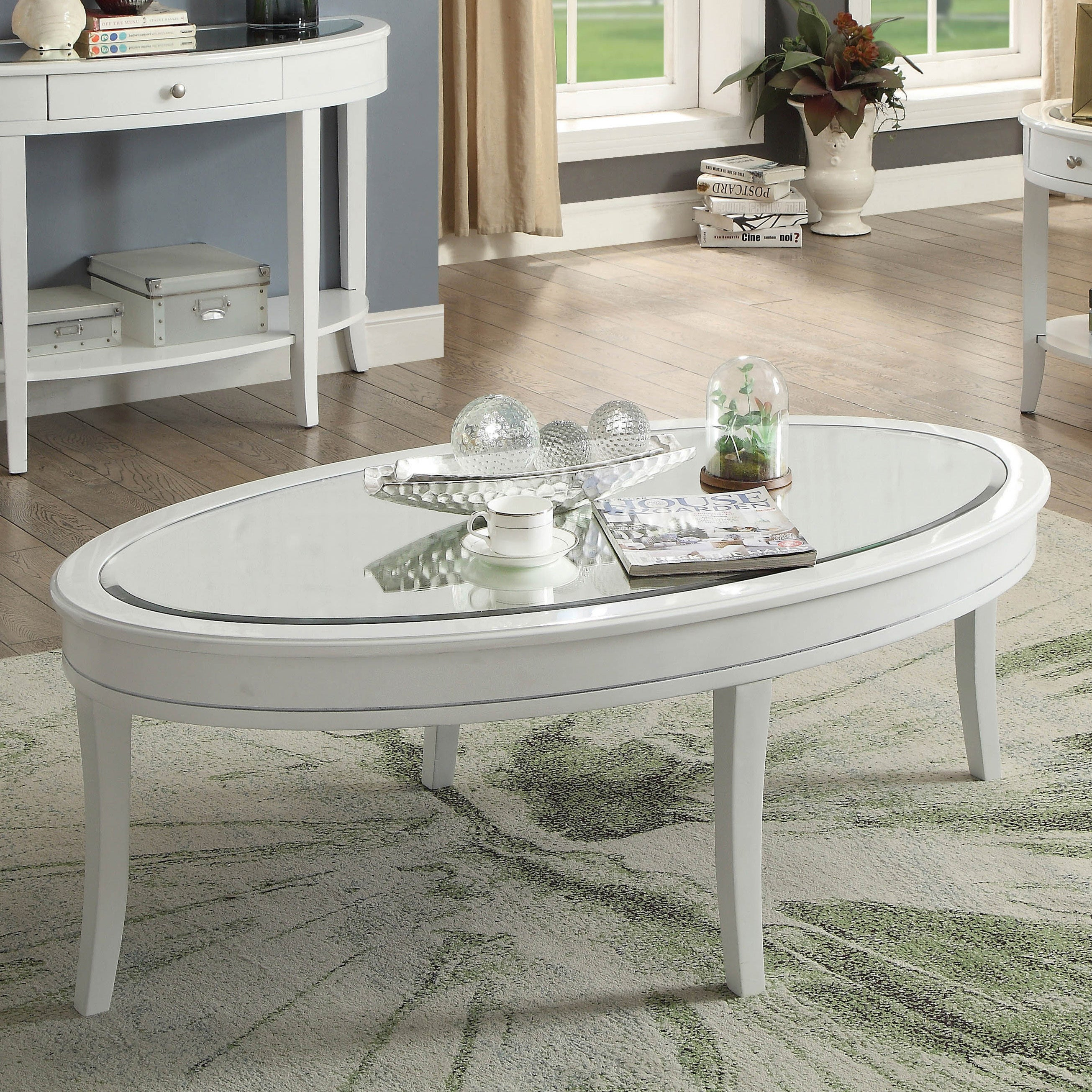 Furniture Of America Dore Traditional White Solid Wood Coffee Table Overstock 20609929