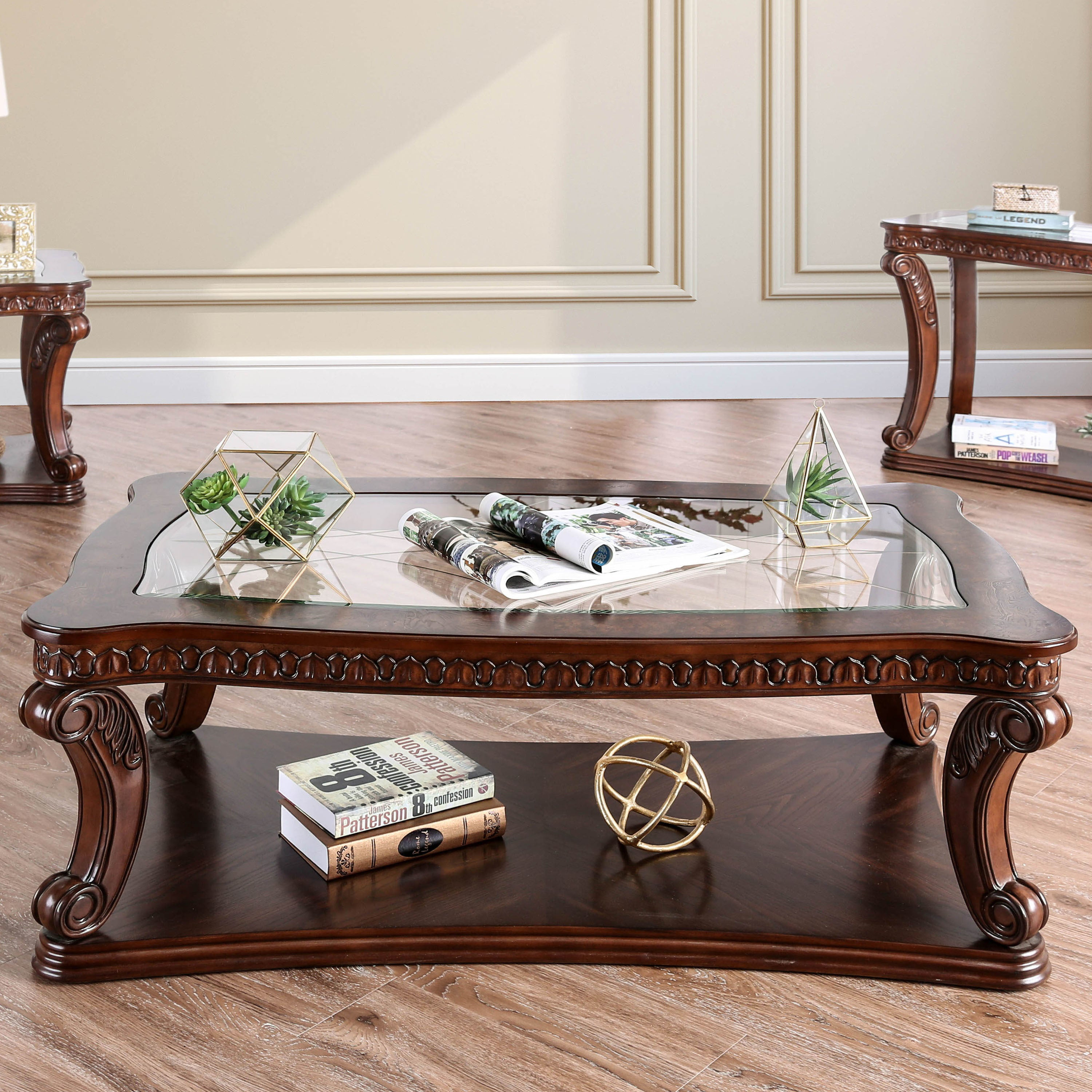 Townsend Traditional Espresso Gl Top Coffee Table By Foa