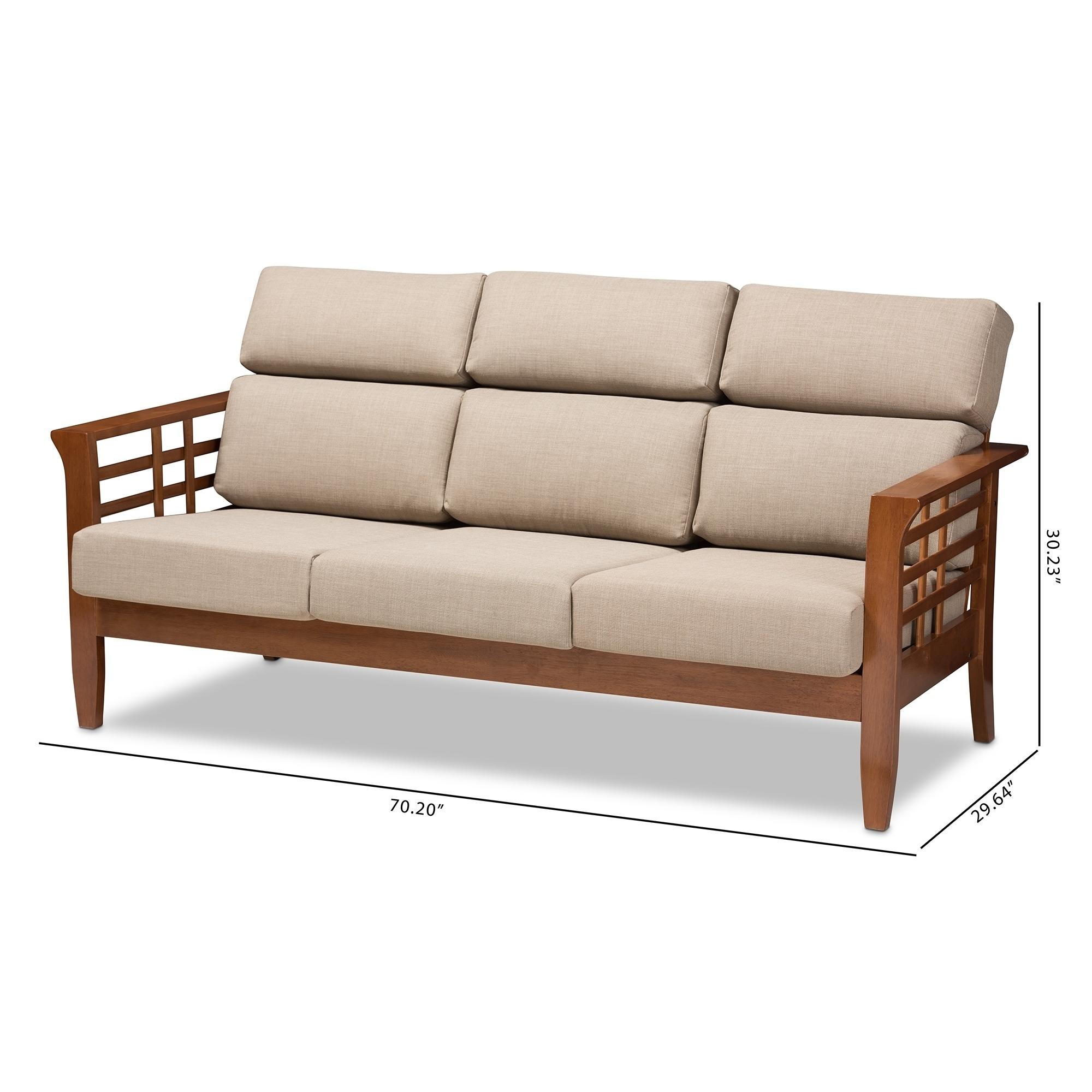Shop Mission Dark Beige Fabric 3-Seater Sofa by Baxton Studio - On ...