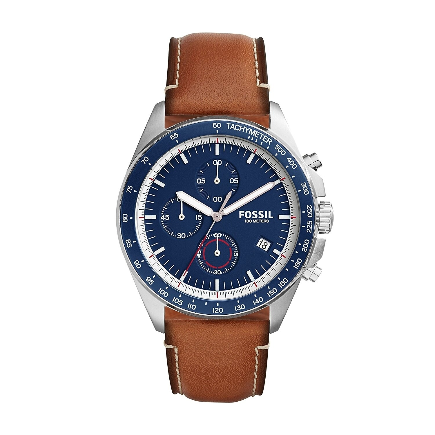 7db7456b874 Shop Fossil Men s Sport 54 Chronograph Blue Dial Brown Leather Watch ...