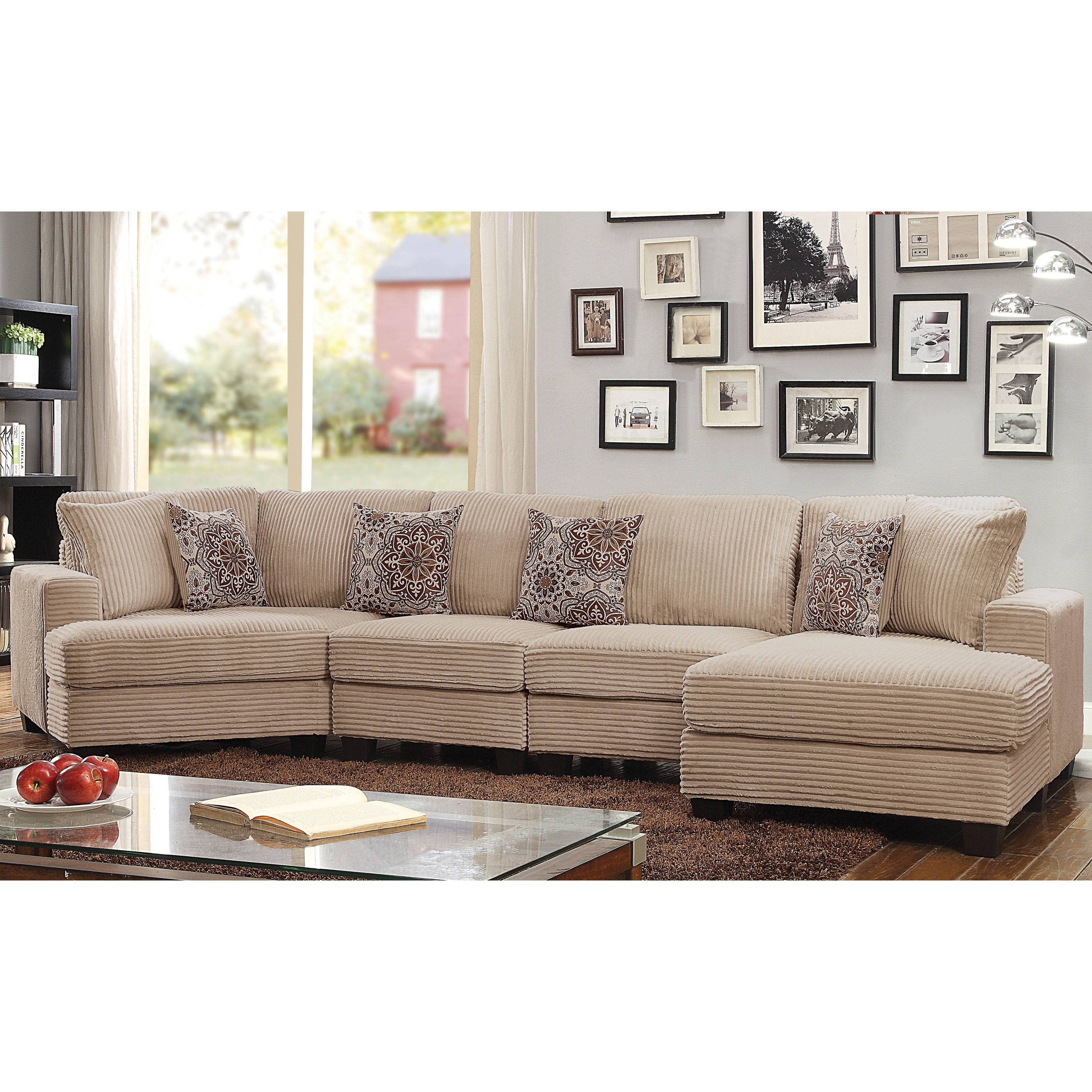 Furniture Of America Barrington Contemporary Beige Corduroy Sectional Sofa On Free Shipping Today 20614284