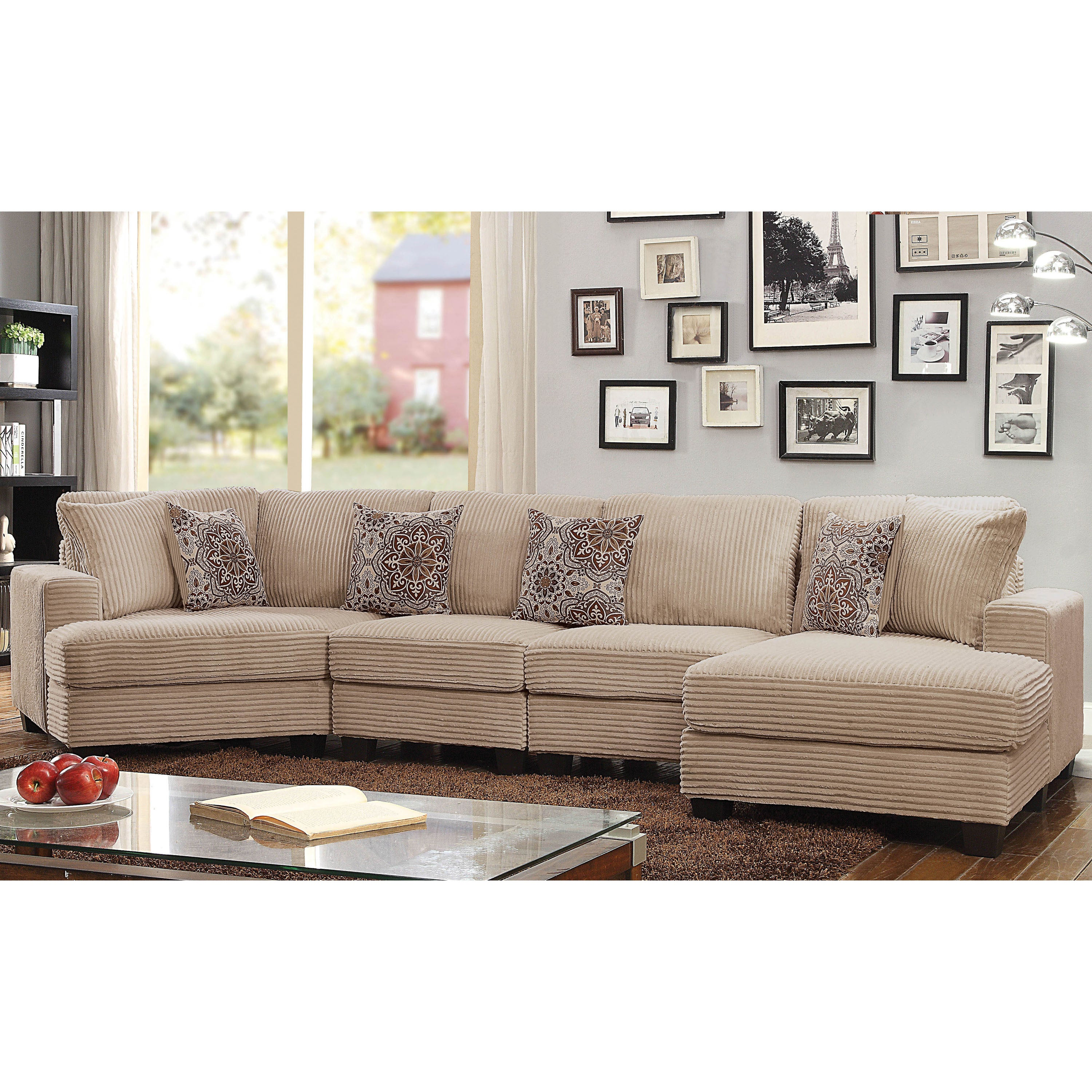Barrington contemporary beige corduroy sectional sofa by foa