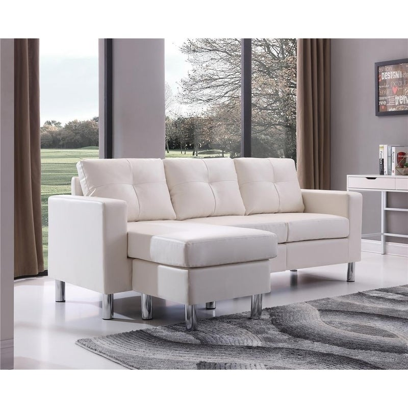 Superieur Shop Small Space White Convertible Sectional Sofa   Free Shipping Today    Overstock.com   20615625