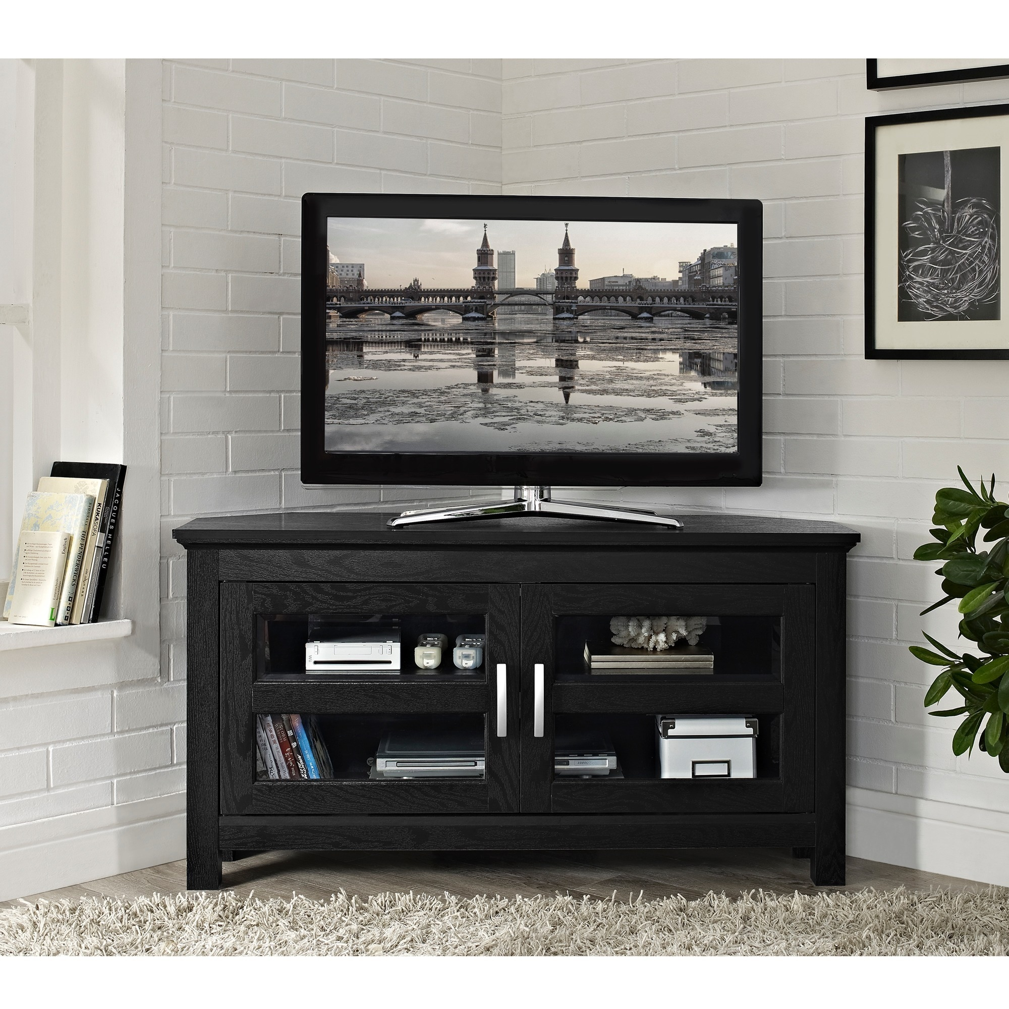 Shop Porch Den Hardy Black Wood 44 Inch Corner Tv Stand Free