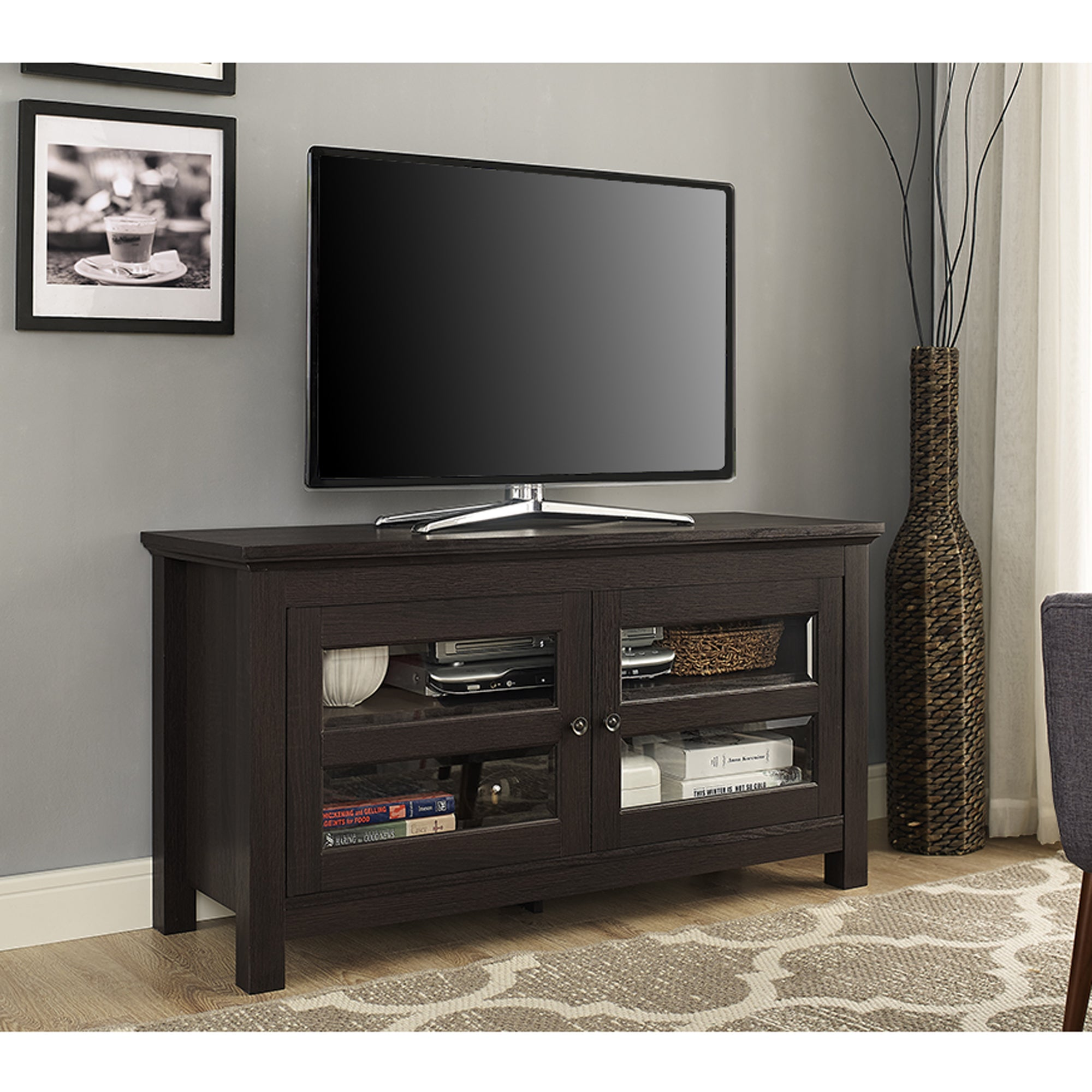 Shop Porch Den Hardy 44 Inch Espresso Wood Tv Stand Console With
