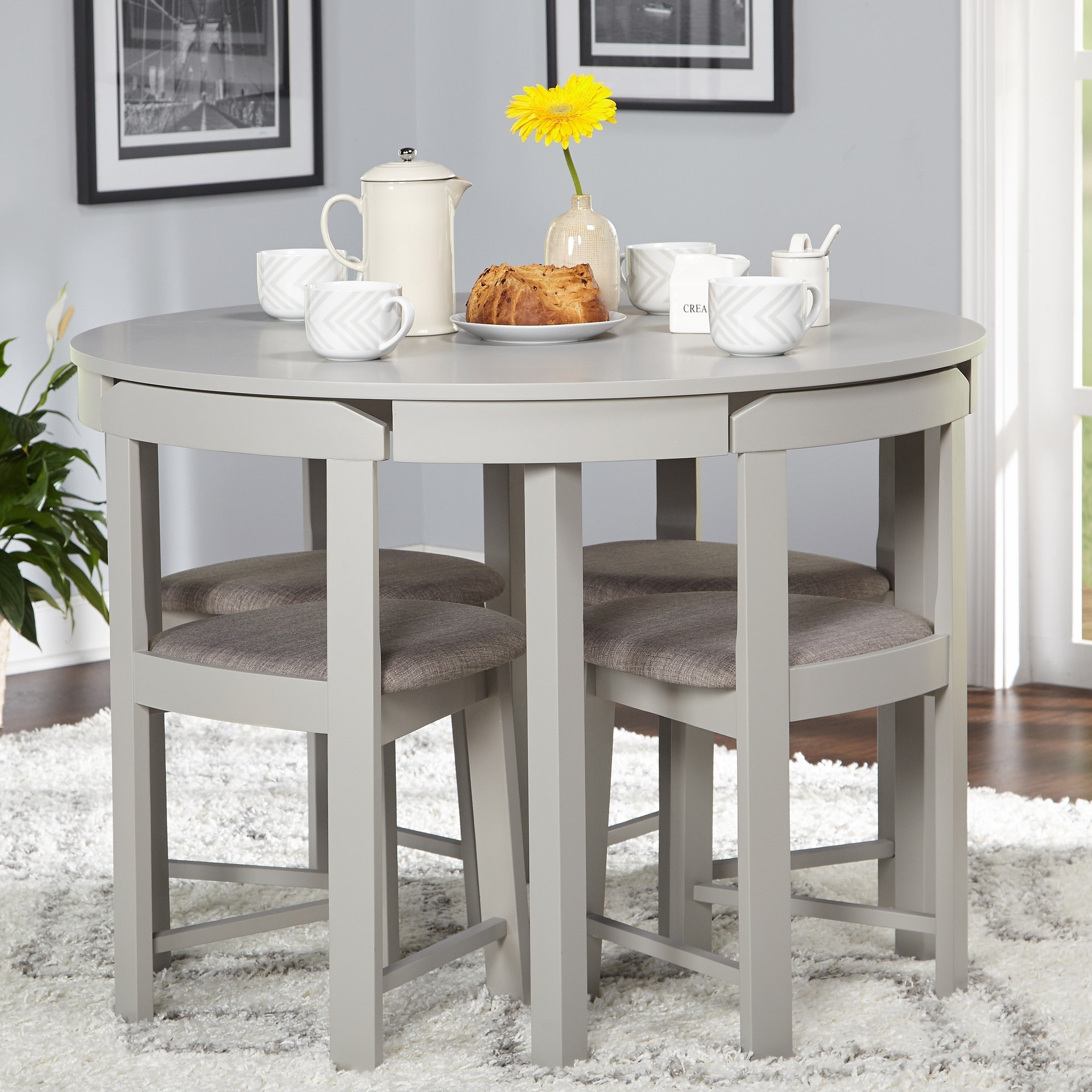 Harrisburg 5 Piece Tobey Compact Round Dining Set On Free Shipping Today 20616440