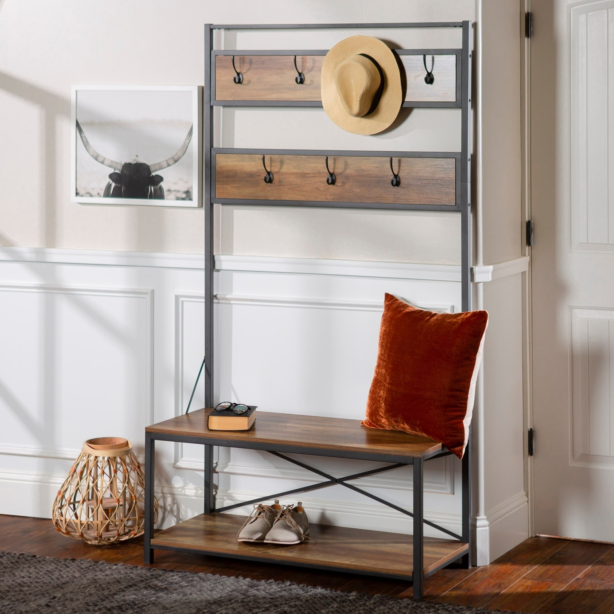 Shop carbon loft geller 72 inch industrial metal and wood hall tree free shipping today overstock com 20616607