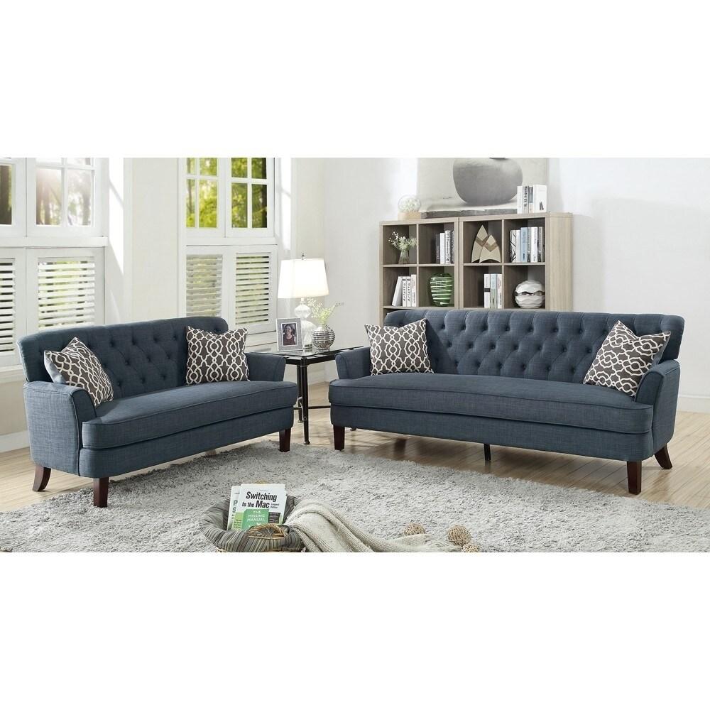 Shop Velveteen 2 Pieces Sofa Set With Accent Pillows Dark Blue ...