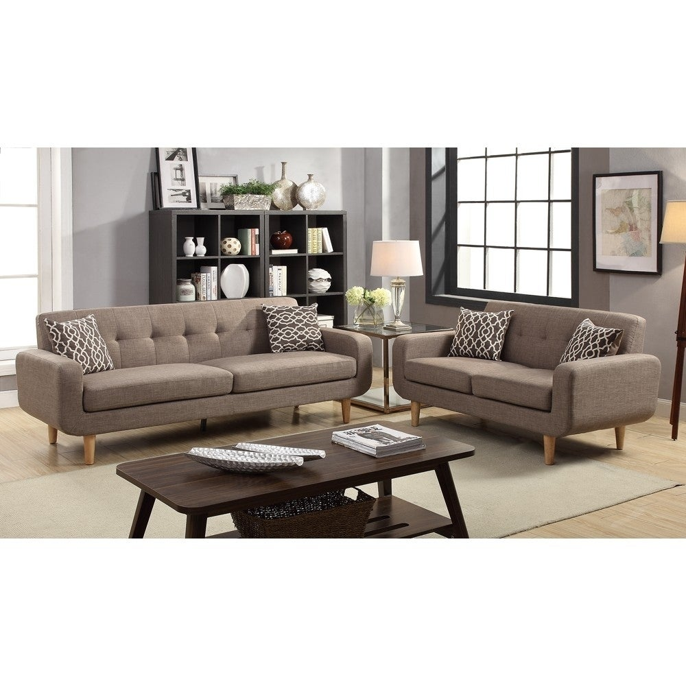 Dorris Fabric 2 Pieces Sofa Set With Accent Pillows Light Brown Free Shipping Today 20625899