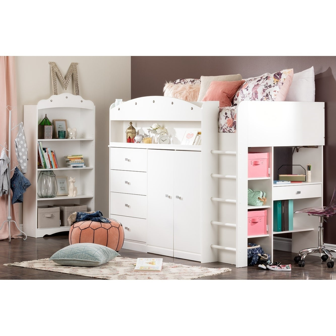 shop south shore tiara white twin loft bed with desk ships to rh overstock ca south shore treehouse loft bed south shore logik twin loft bed