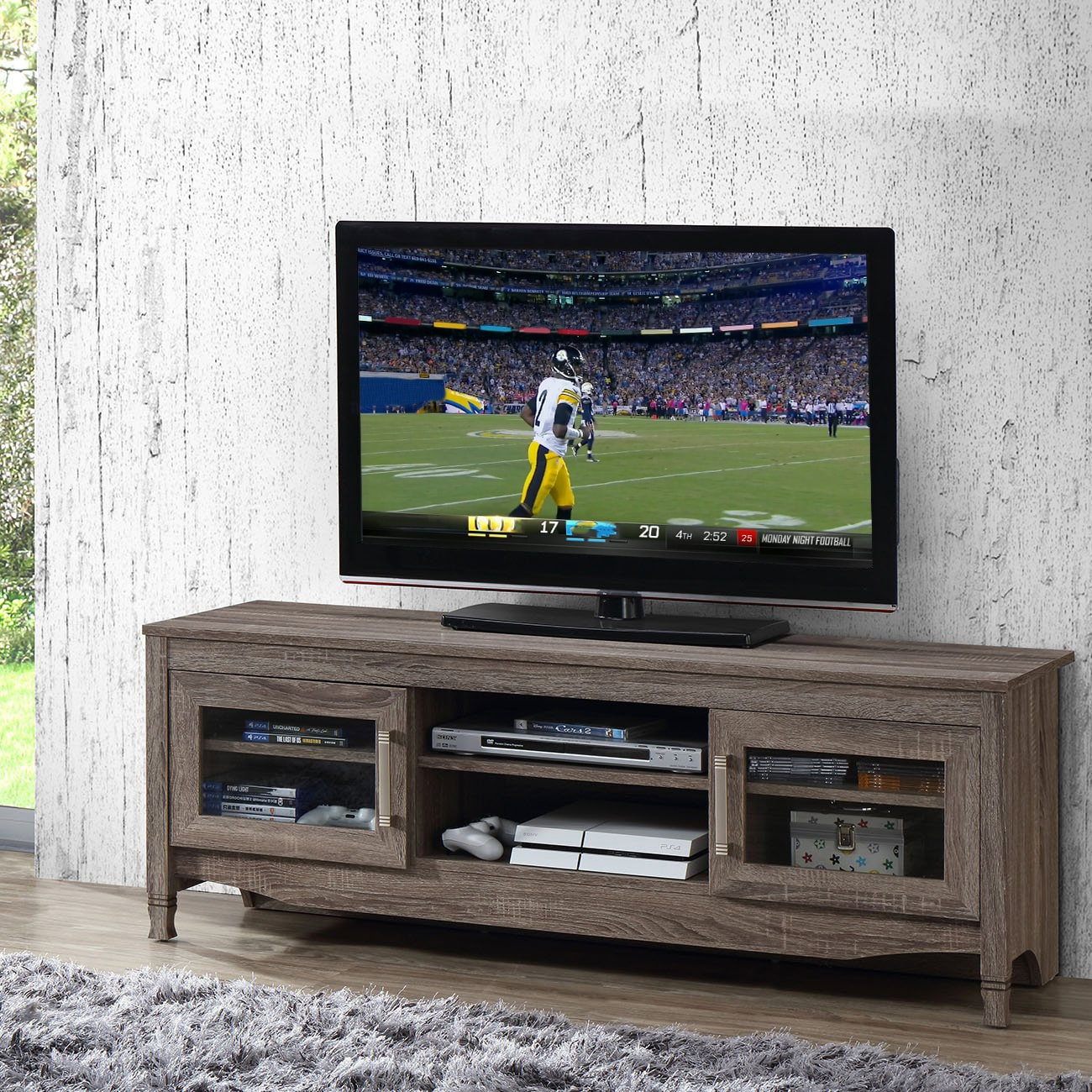 Media Stand Designs : Shop urban designs grey driftwood tv stand on sale free