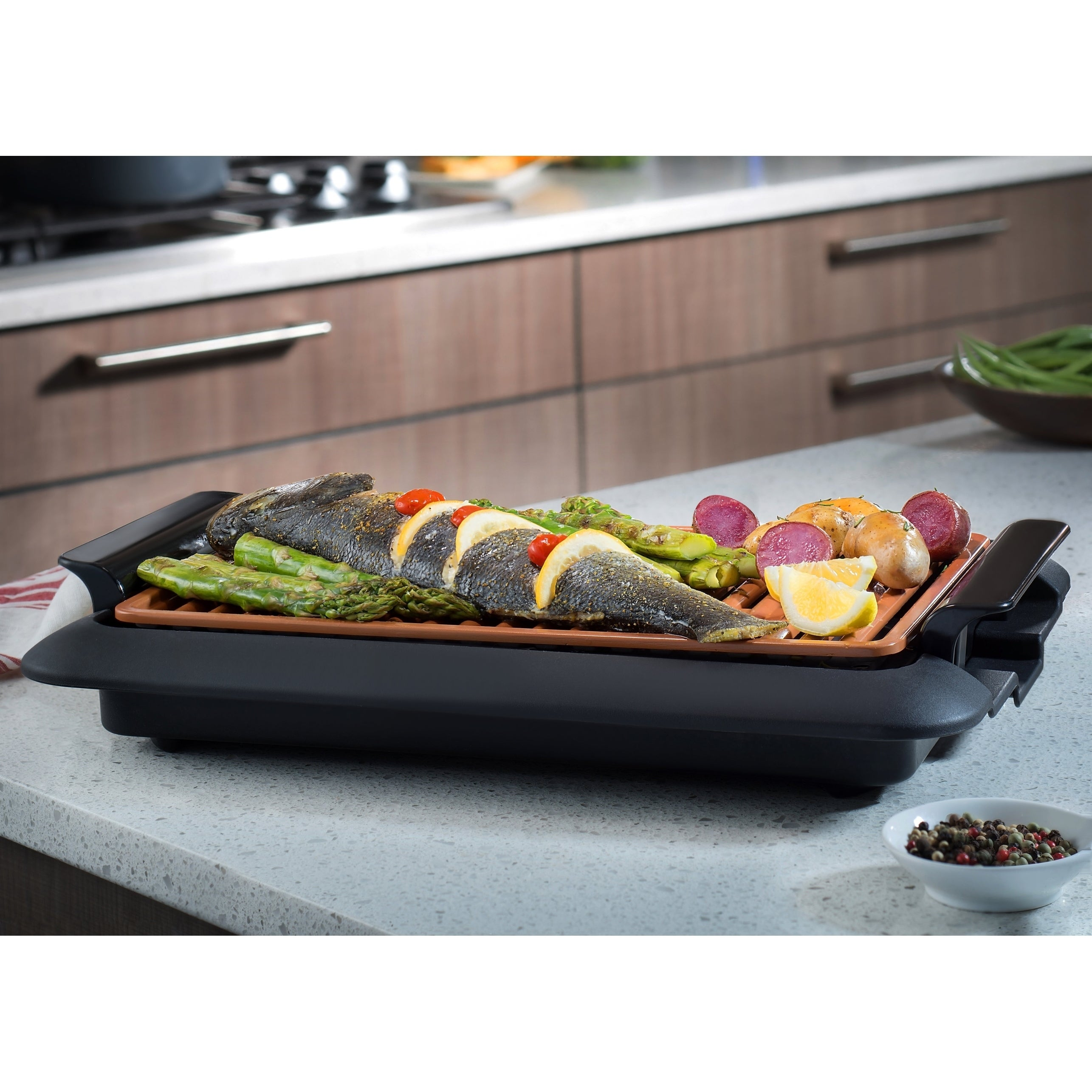 Gotham Steel Large 18x13 Copper Non-stick Smokeless Indoor Grill As ...