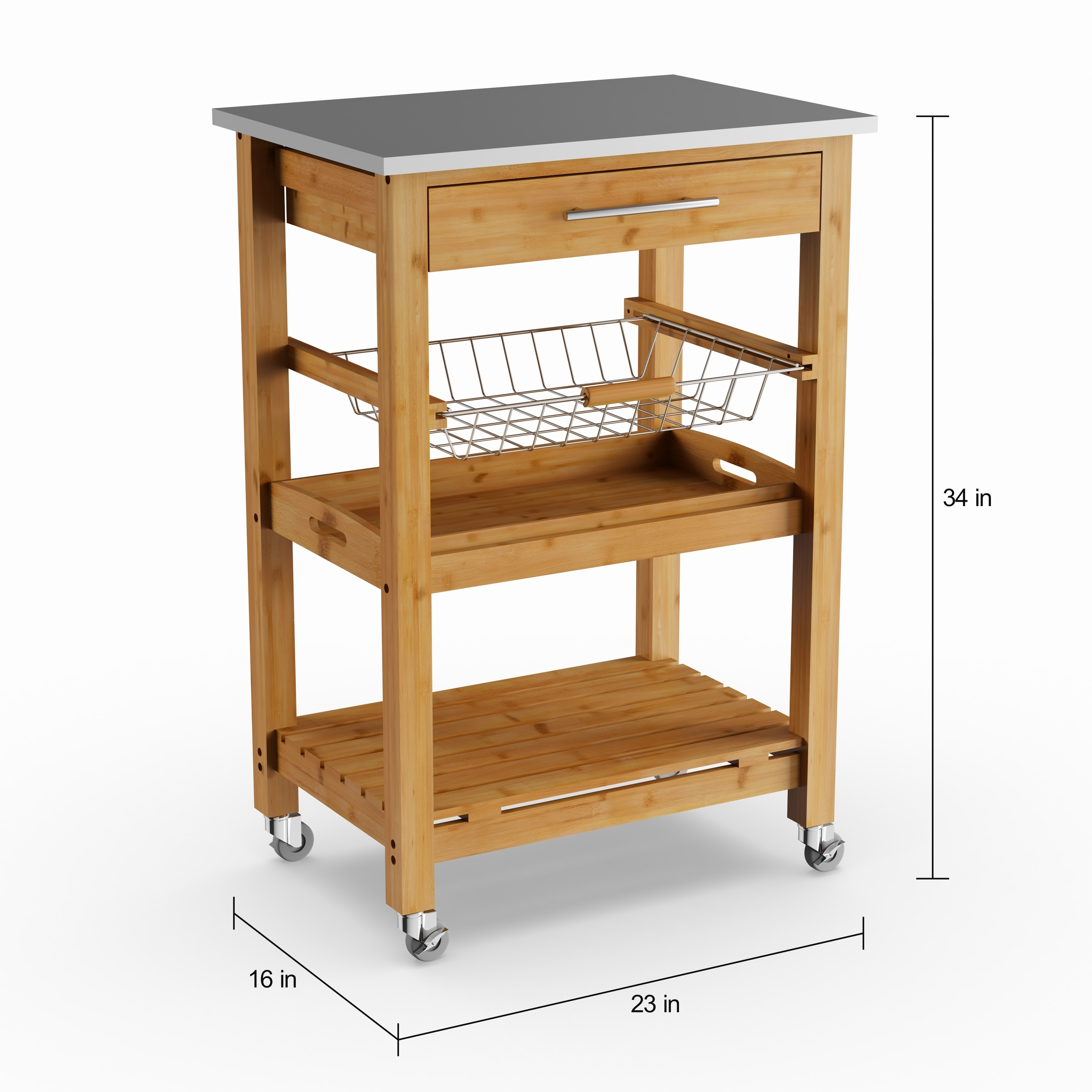 Porch Den Ramsey Bamboo Kitchen Cart With Stainless Steel Top