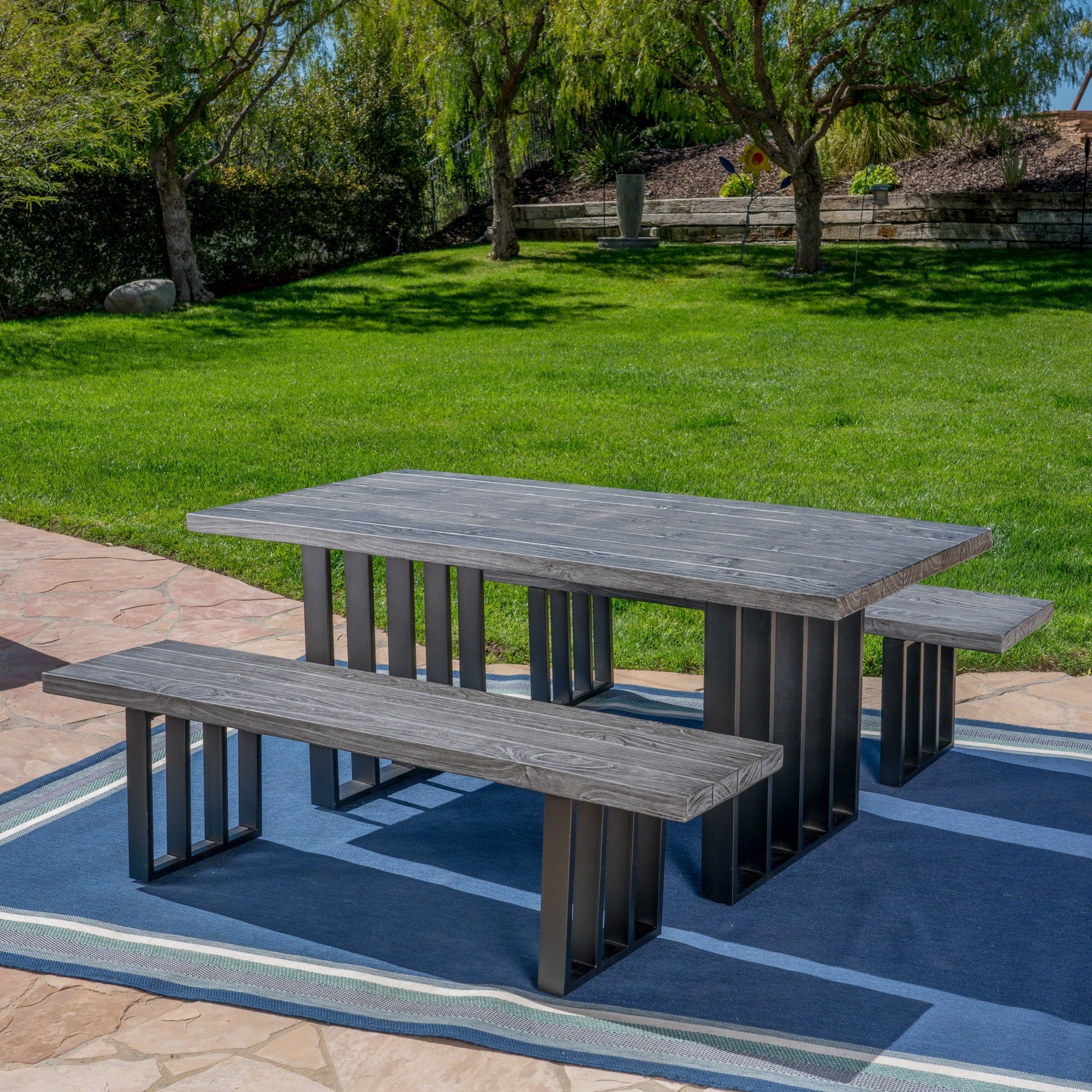 Sensational Kantor Outdoor 3 Piece Rectangle Light Weight Concrete Picnic Dining Set By Christopher Knight Home Home Interior And Landscaping Fragforummapetitesourisinfo