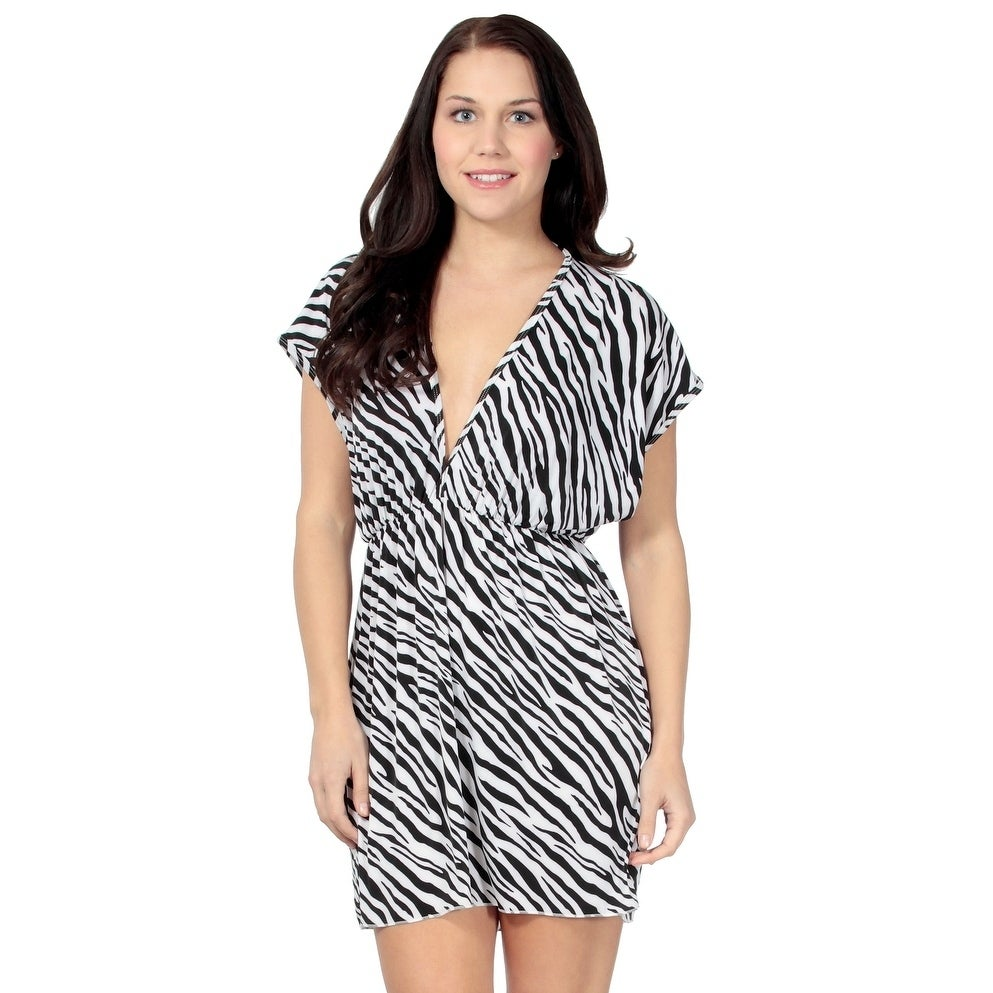 ffe1c5ae005 Shop Women's Sexy Deep V-neck Beach Cover-up Dress Beach Skirt,  Zebra-Stripe - On Sale - Free Shipping On Orders Over $45 - Overstock -  20646849