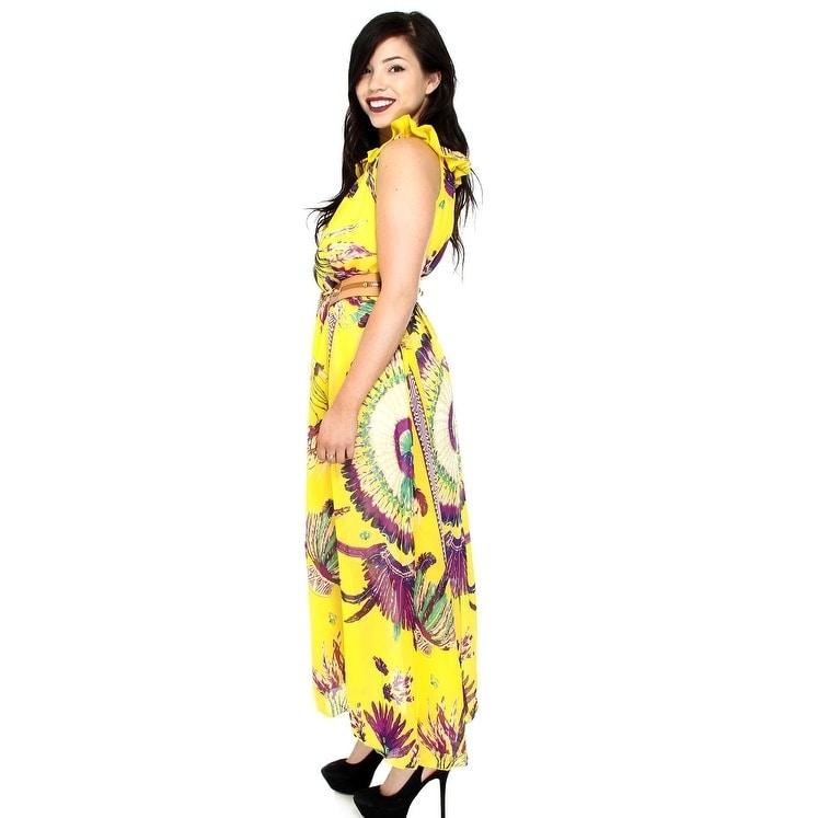 0fc9a6089c8 Shop Women s Summer Print Chiffon Maxi Dress With Belt