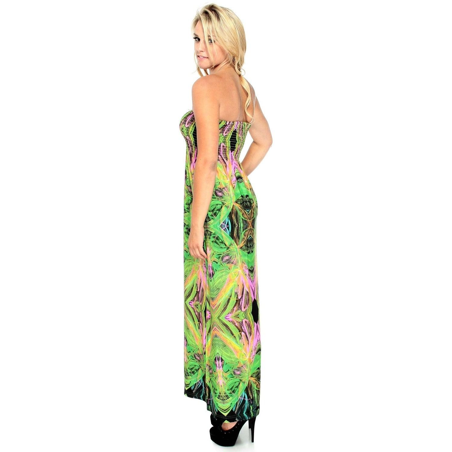 eca39f9f8ffe Shop Bohemian Strapless Dress in Stretch/Neon Print,Blue/Multi,M - Free  Shipping Today - Overstock - 20646995