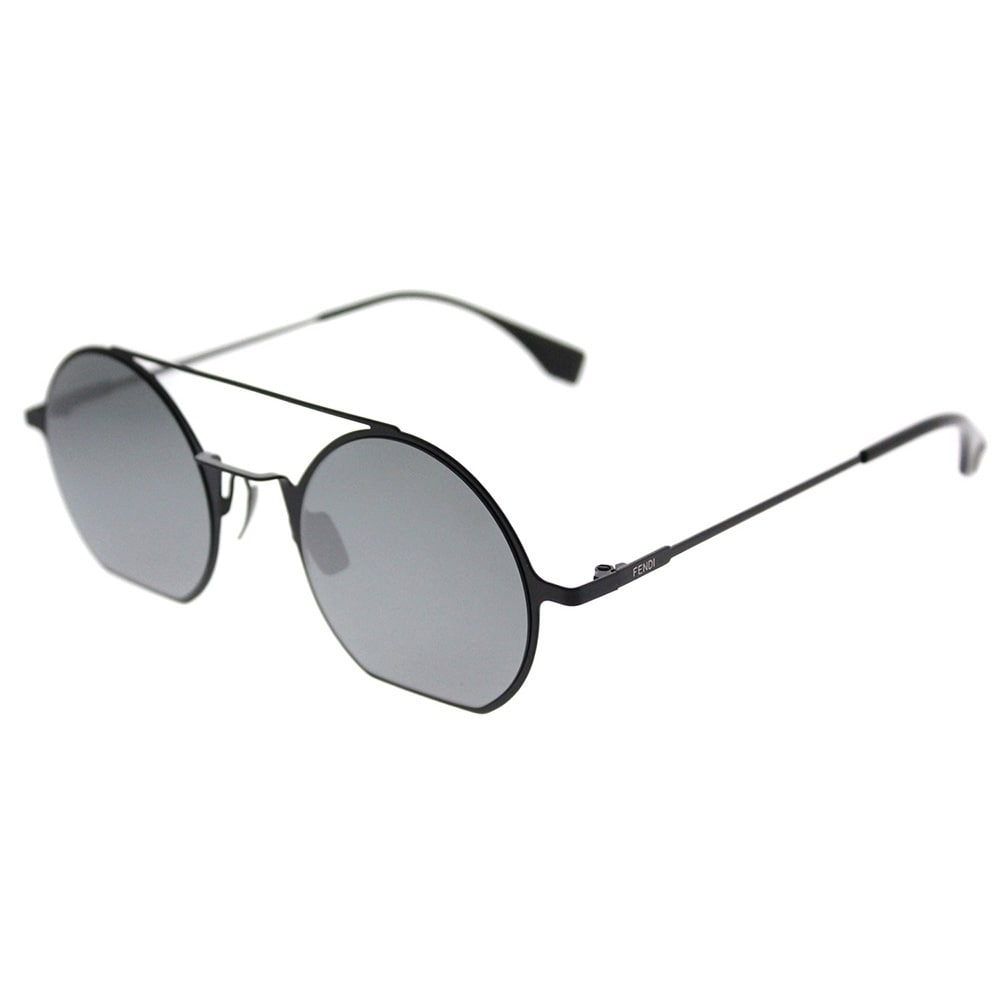 2f0df5434c Shop Fendi Round FF 0291 Eyeline 807 T4 Unisex Black Frame Blue Mirror Lens  Sunglasses - On Sale - Ships To Canada - Overstock.ca - 20648055